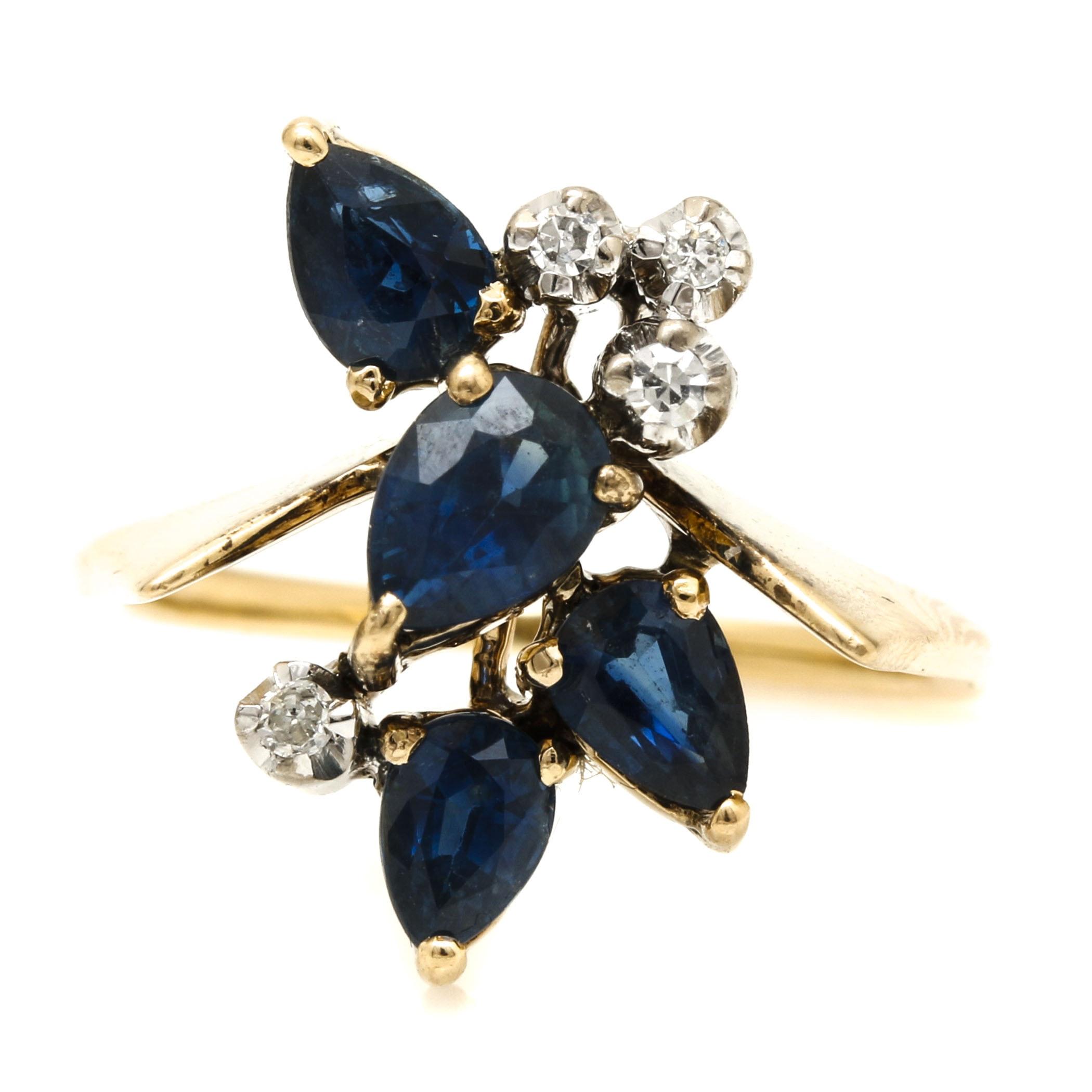 14K Yellow Gold Sapphire and Diamond Foliate Ring