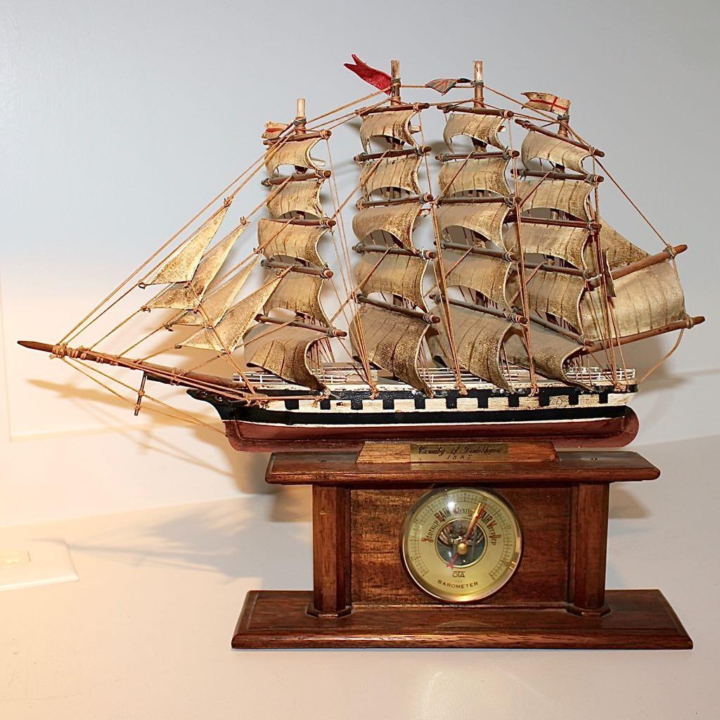 Vintage Barometer with Wooden Model Sailing Ship