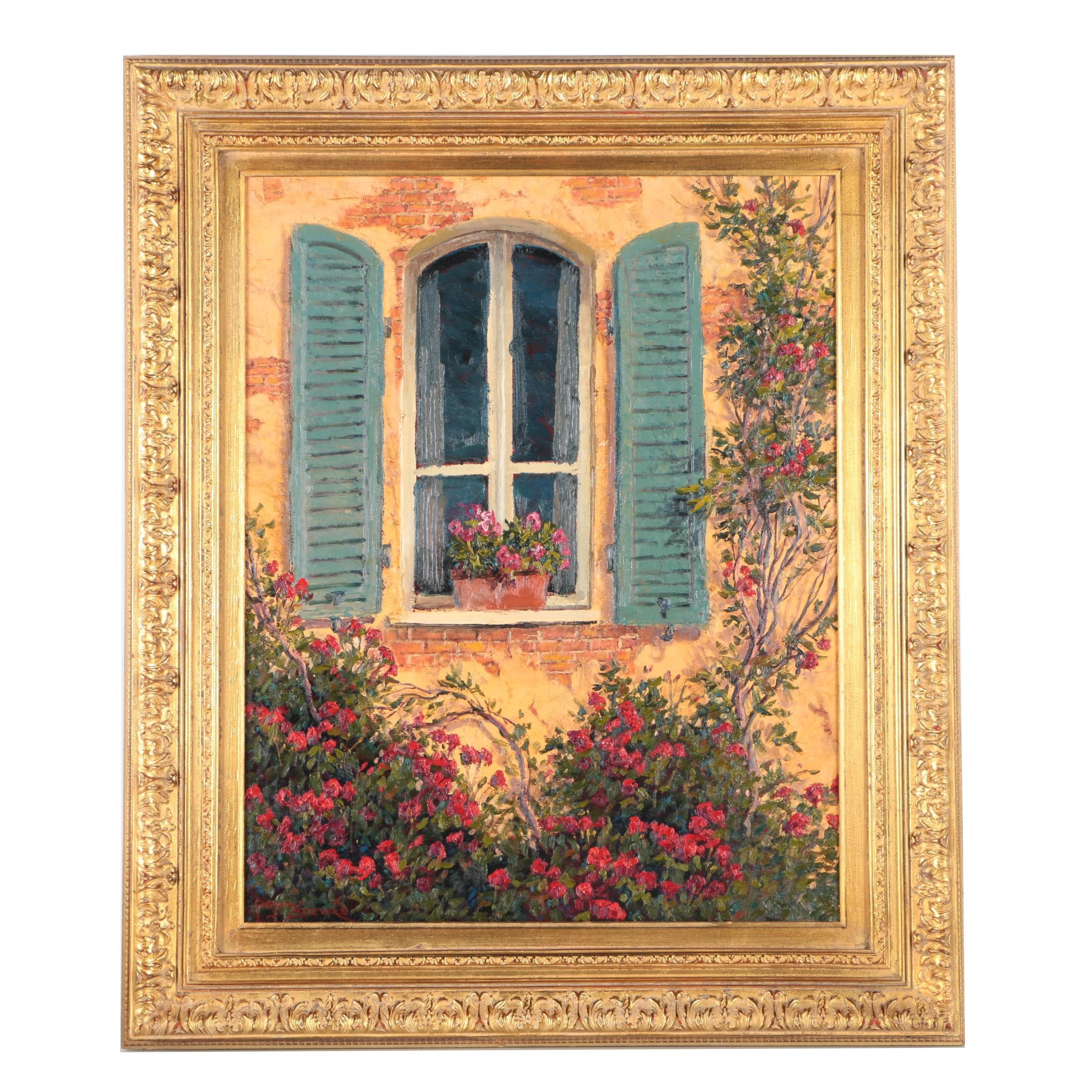Gregory Sievers Oil Painting on Canvas of Window Surrounded by Blossoms