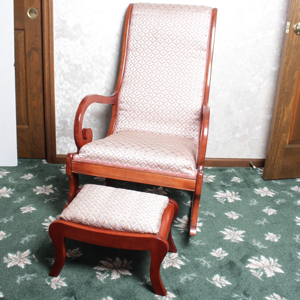 Exceptionnel Antique Statesville Chair Co. Rocking Chair And Footstool ...