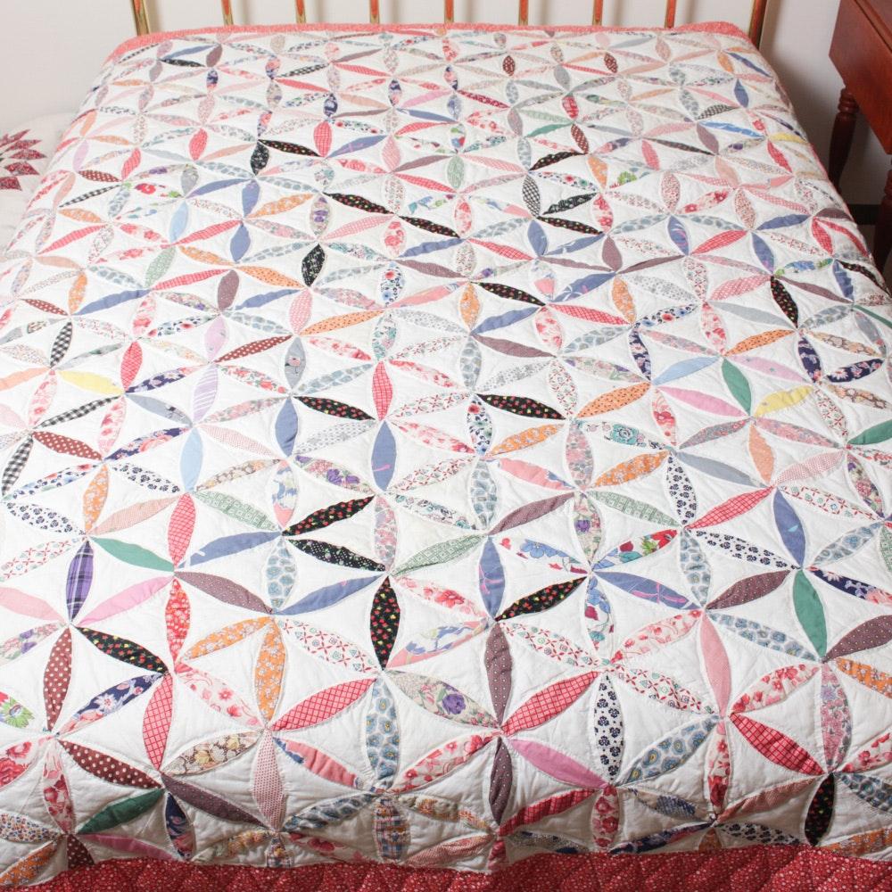 "Vintage Handmade ""Joseph's Coat"" Quilt"