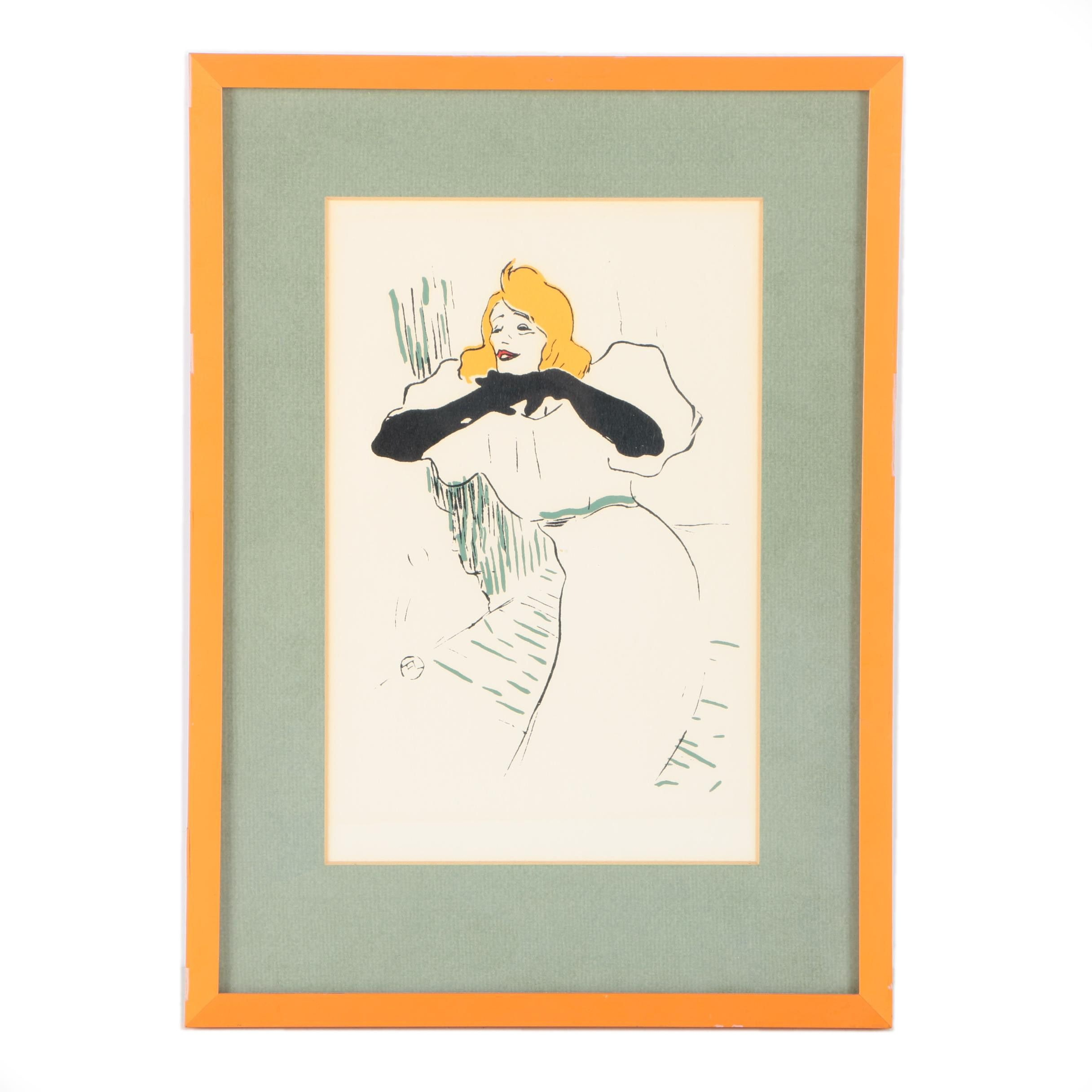"Serigraph After Henri de Toulouse-Lautrec's Drawing ""Yvette Guilbert"""