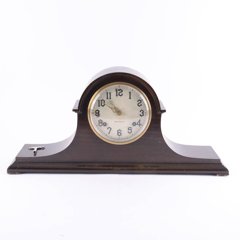 Vintage New Haven Walnut Mantel Clock