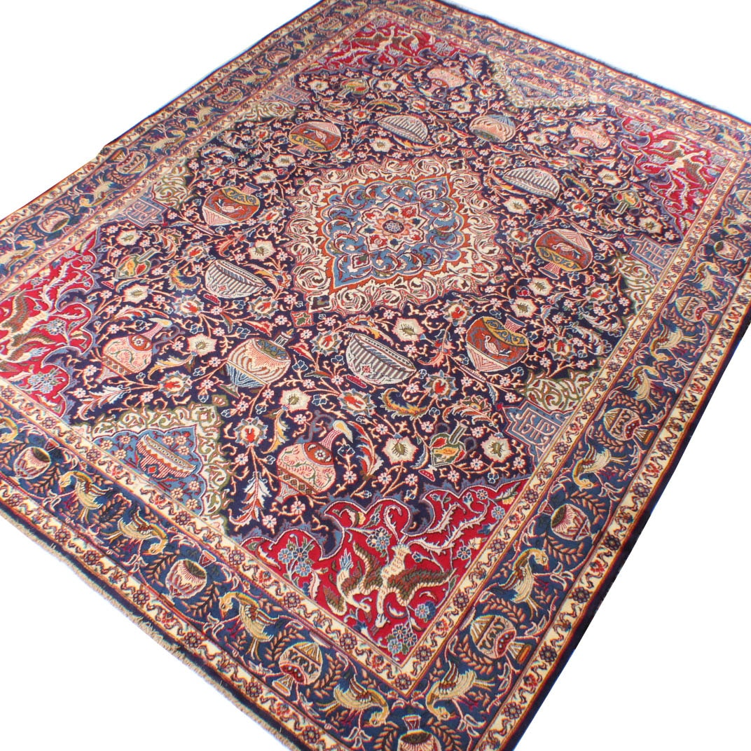 Vintage Hand-Knotted Persian Pictorial Kashmar Room Size Rug