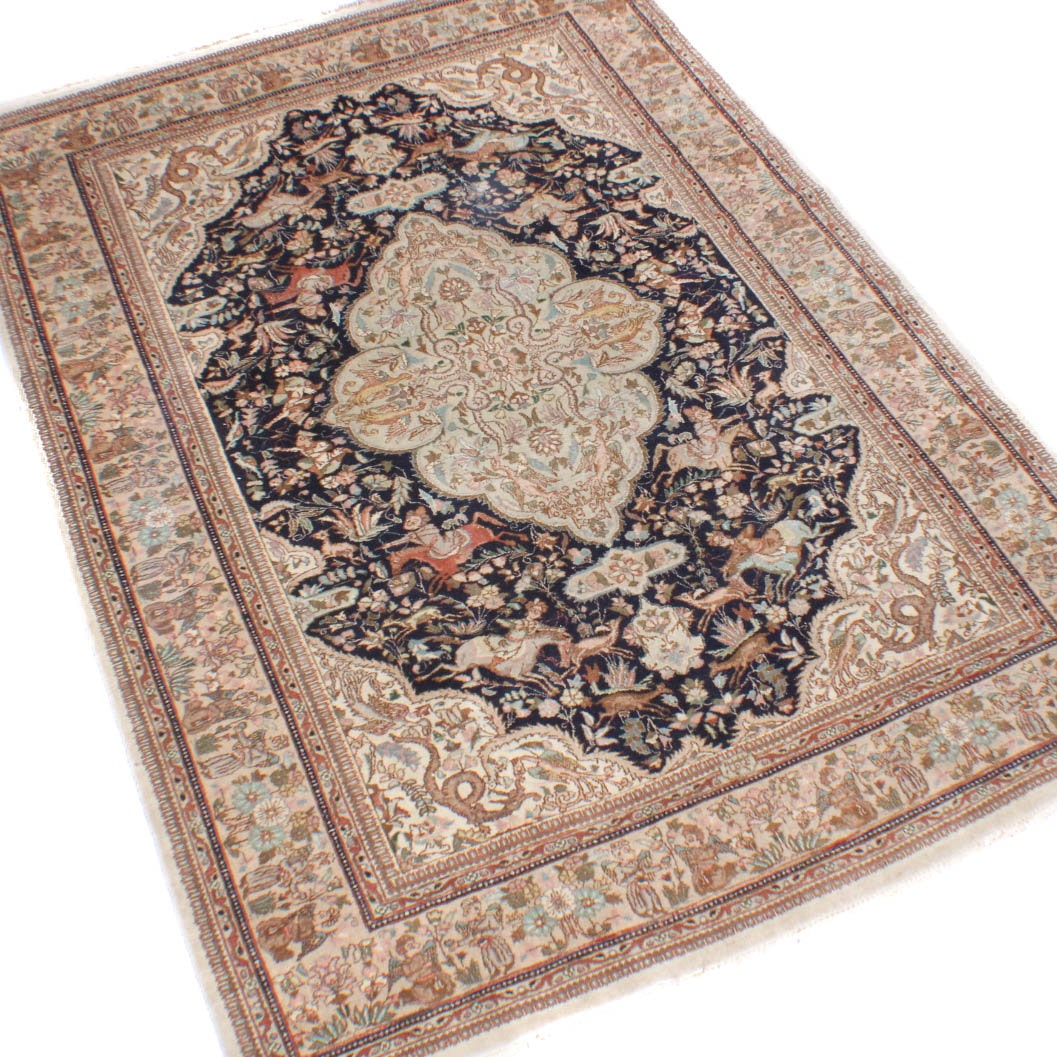 Signed Hand-Knotted Persian Tabriz Hunting Pictorial Rug