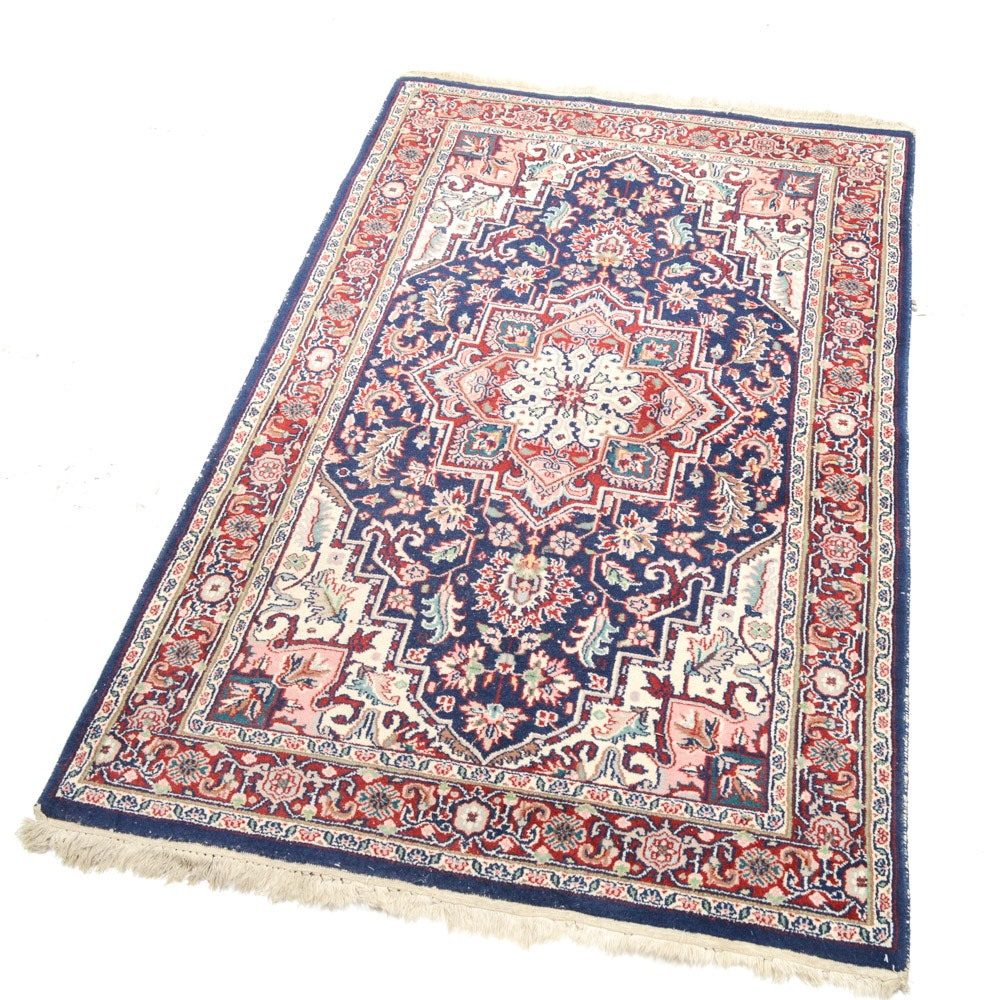 Vintage Hand Knotted Indo-Persian Heriz Area Rug