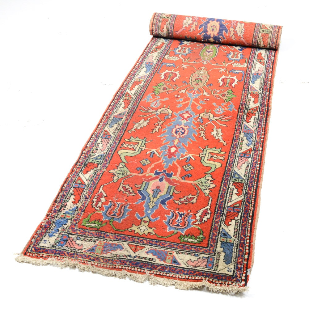 Antique Hand Knotted Turkish Caucasian Runner