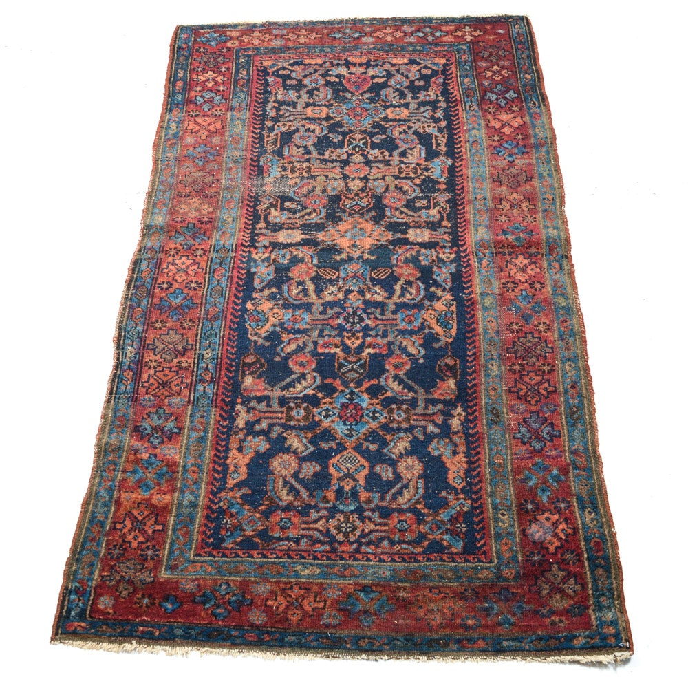 Antique Hand Knotted Persian Malayer Area Rug