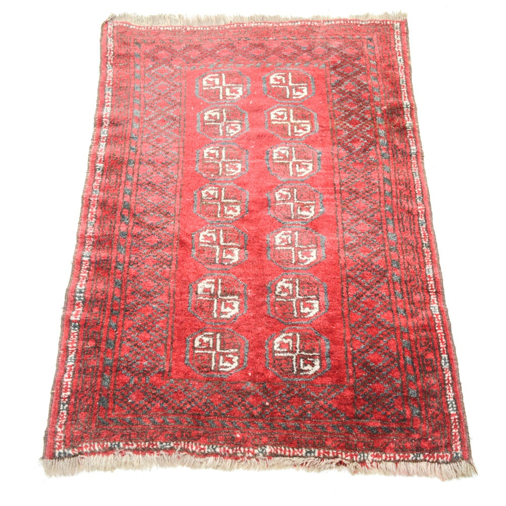 Semi-Antique Hand Knotted Persian Turkoman Accent Rug