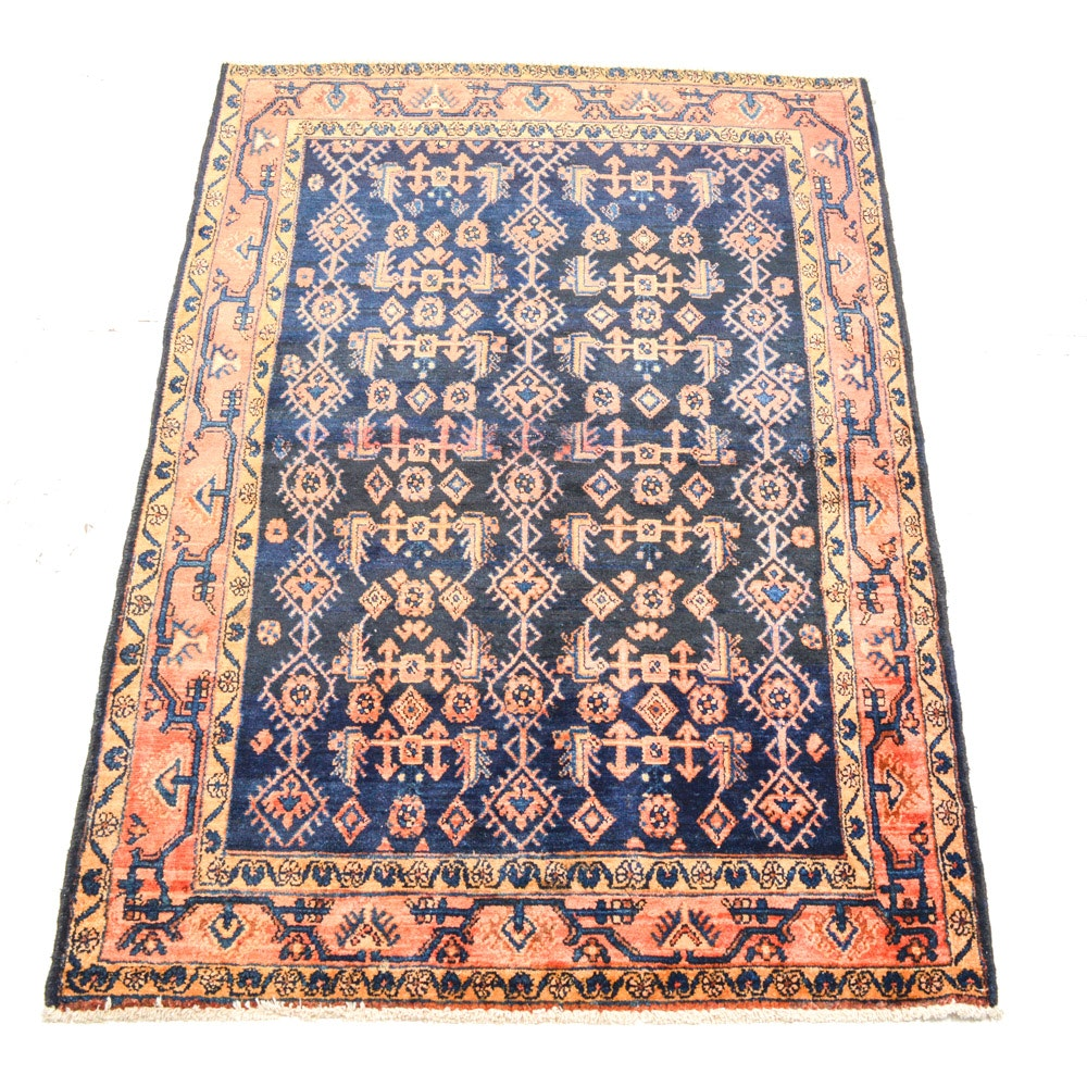 Semi-Antique Hand Knotted Persian Malayer Area Rug