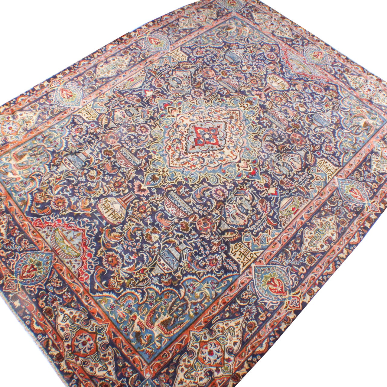 Circa 1930s Hand-Knotted Persian Pictorial Archaeological Kashmar Room Size Rug