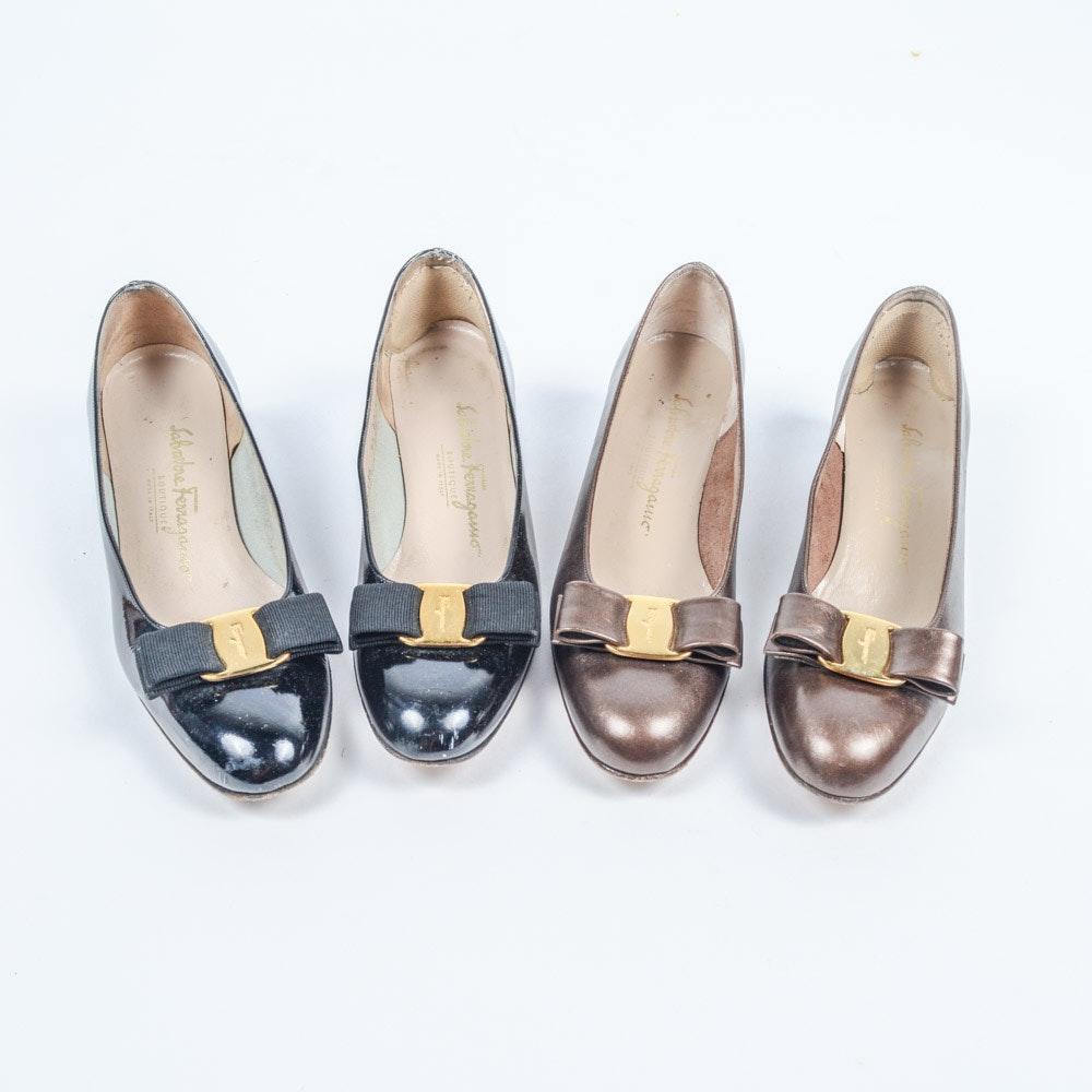 Pair of Bow Buckle Vintage Ferragamo Shoes