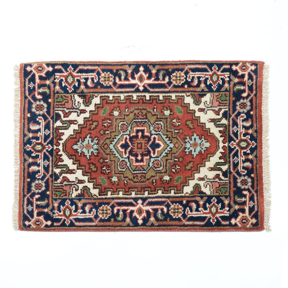 Hand Knotted Indo-Persian Heriz Accent Rug