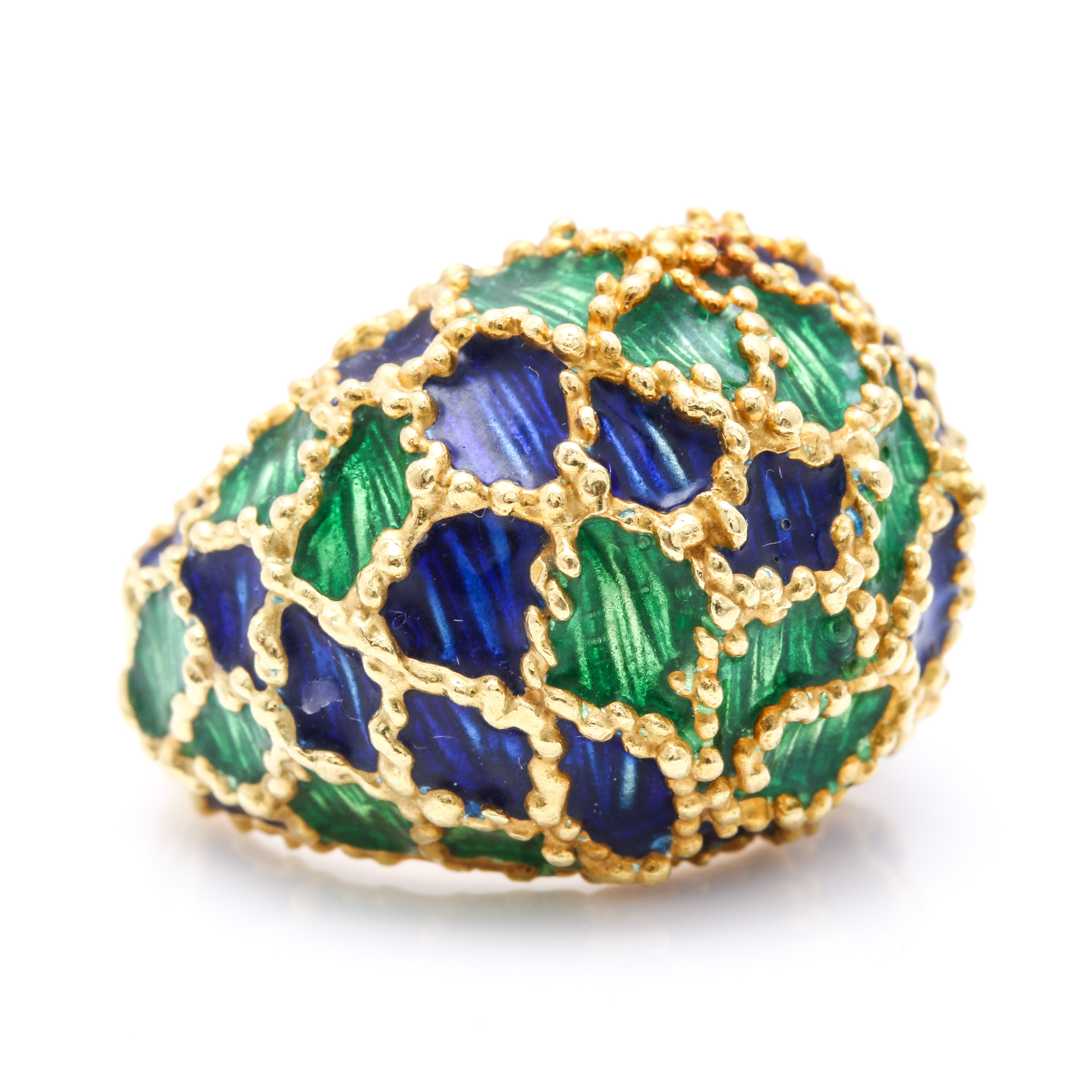 18K Yellow Gold Domed Ring With Enamel