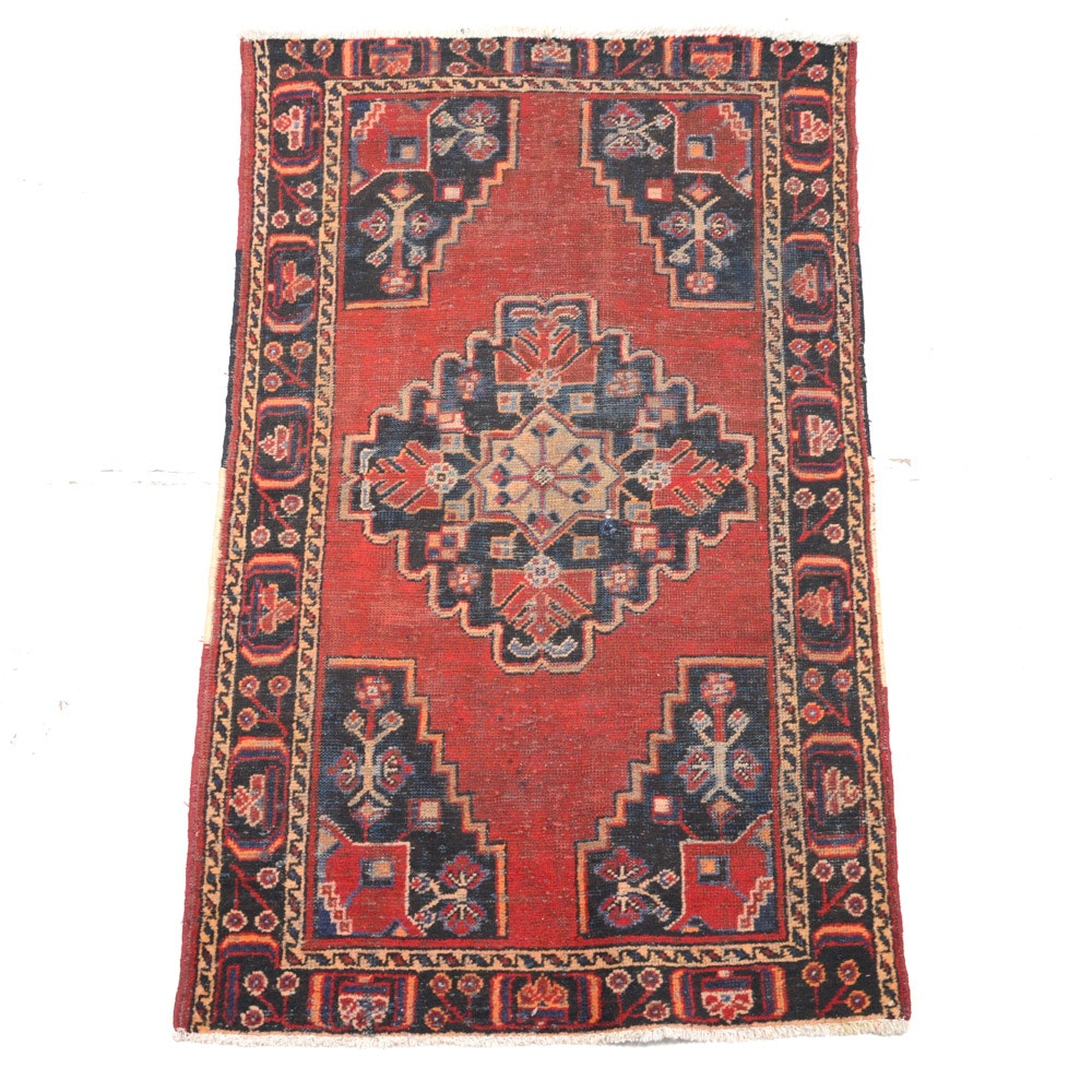 Semi-Antique Hand Knotted Persian Zanjan Area Rug