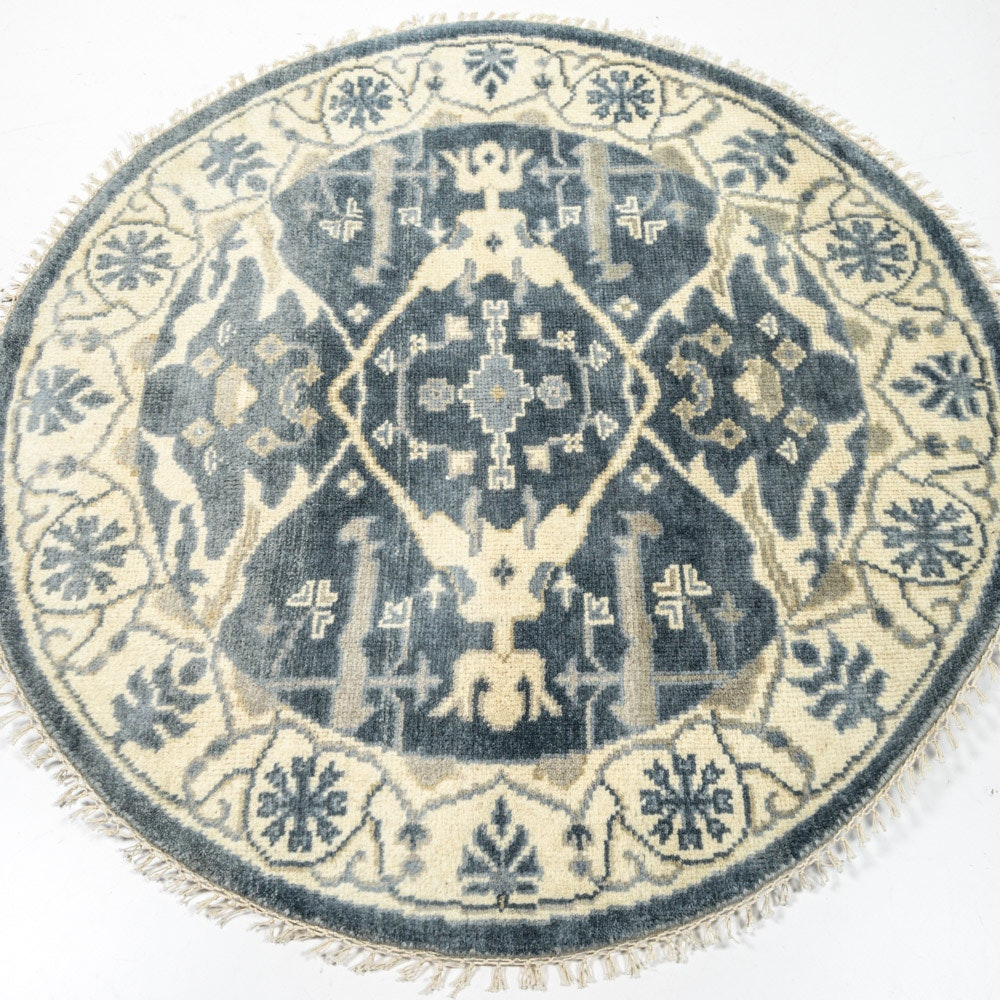 Hand Knotted Indo-Turkish Oushak Circular Rug