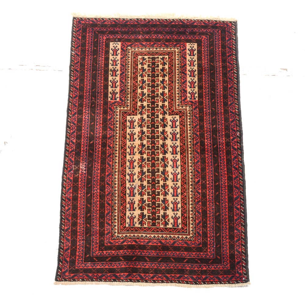 Semi-Antique Hand Knotted Persian Balouch Prayer Rug