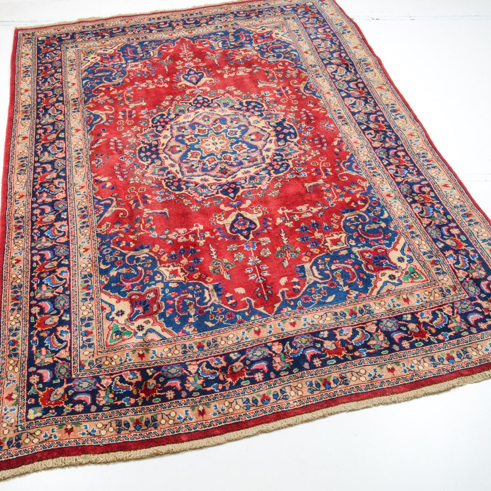 Vintage Hand Knotted Persian Qum Area Rug