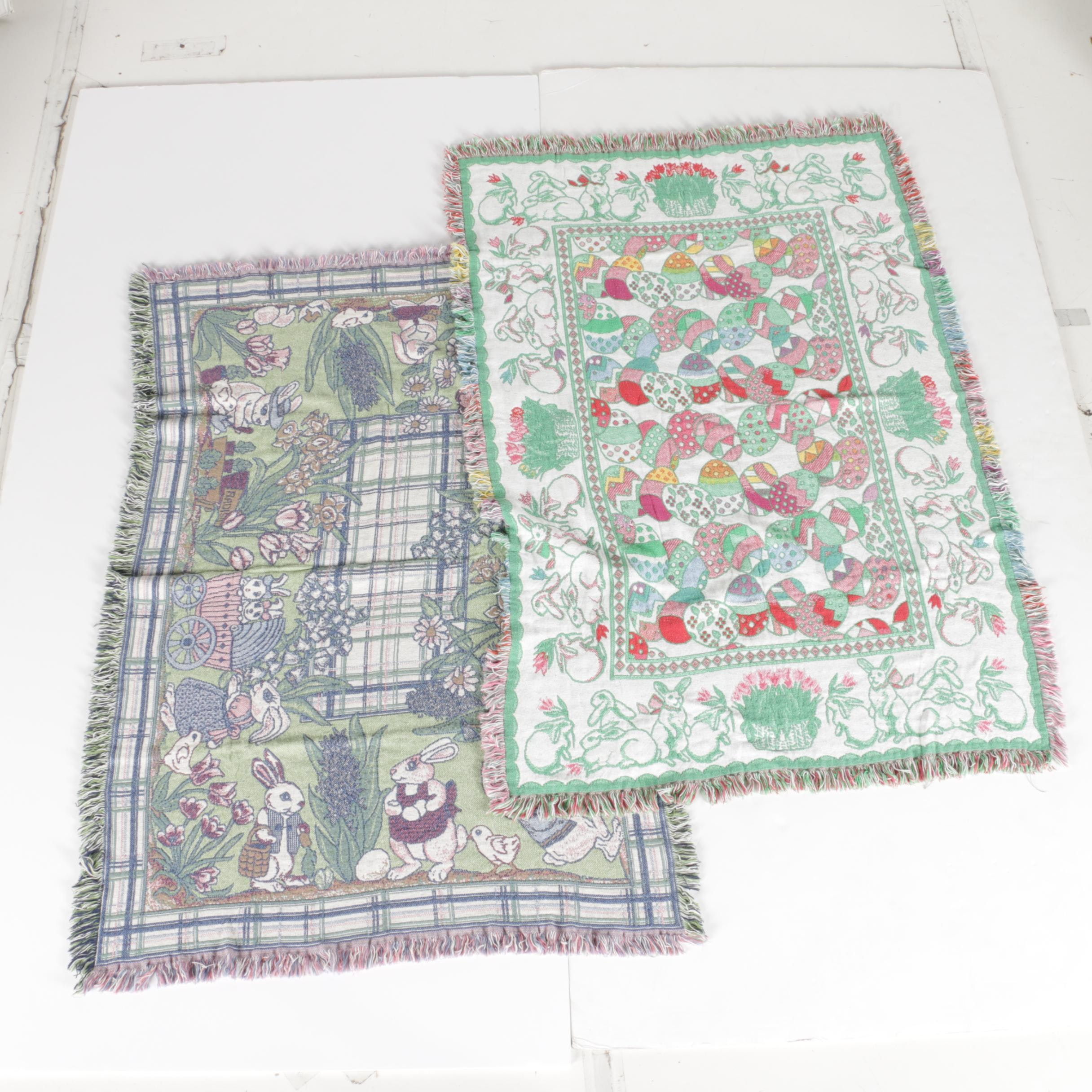 Pair of Easter Themed Woven Blankets
