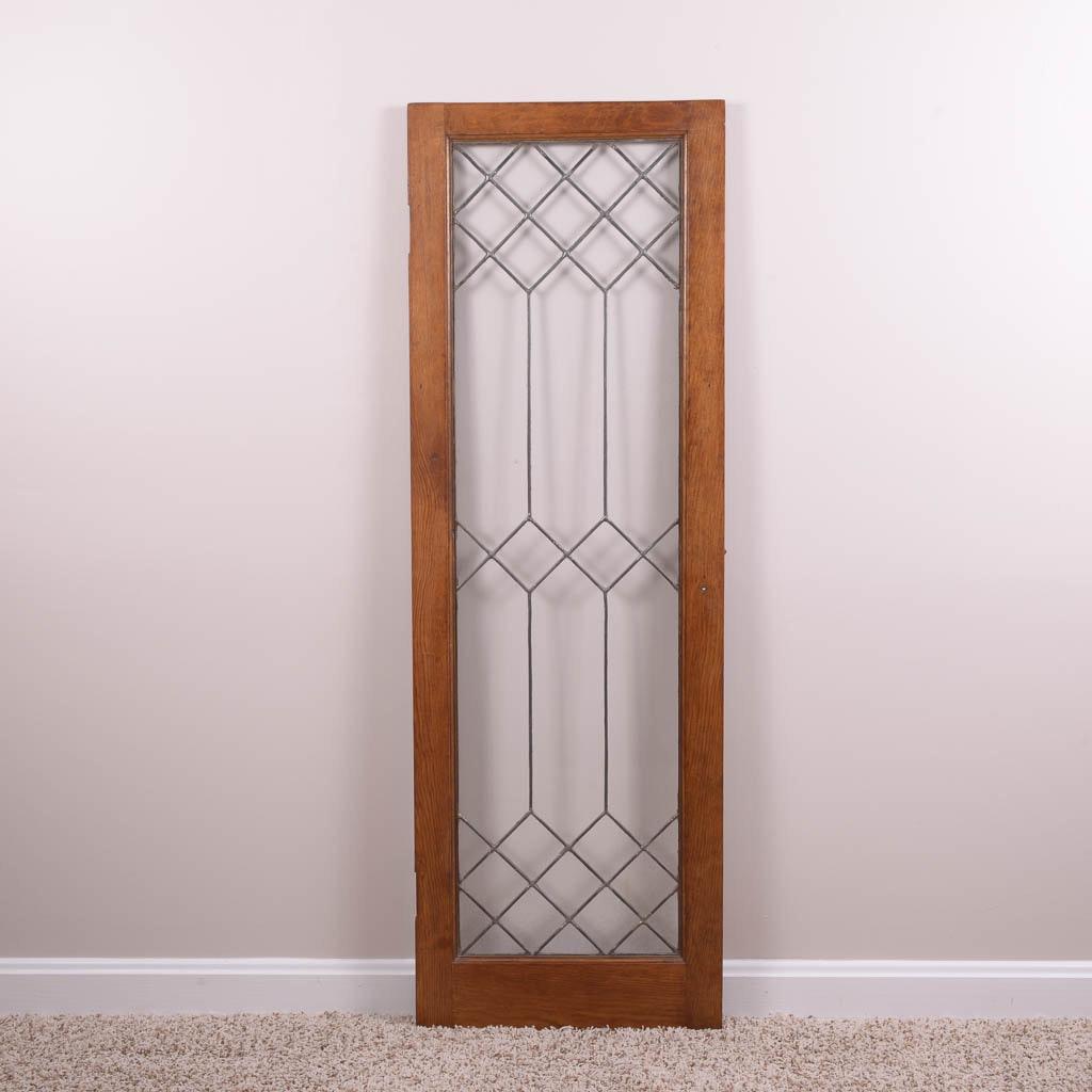 Antique Leaded Glass Cabinet Door