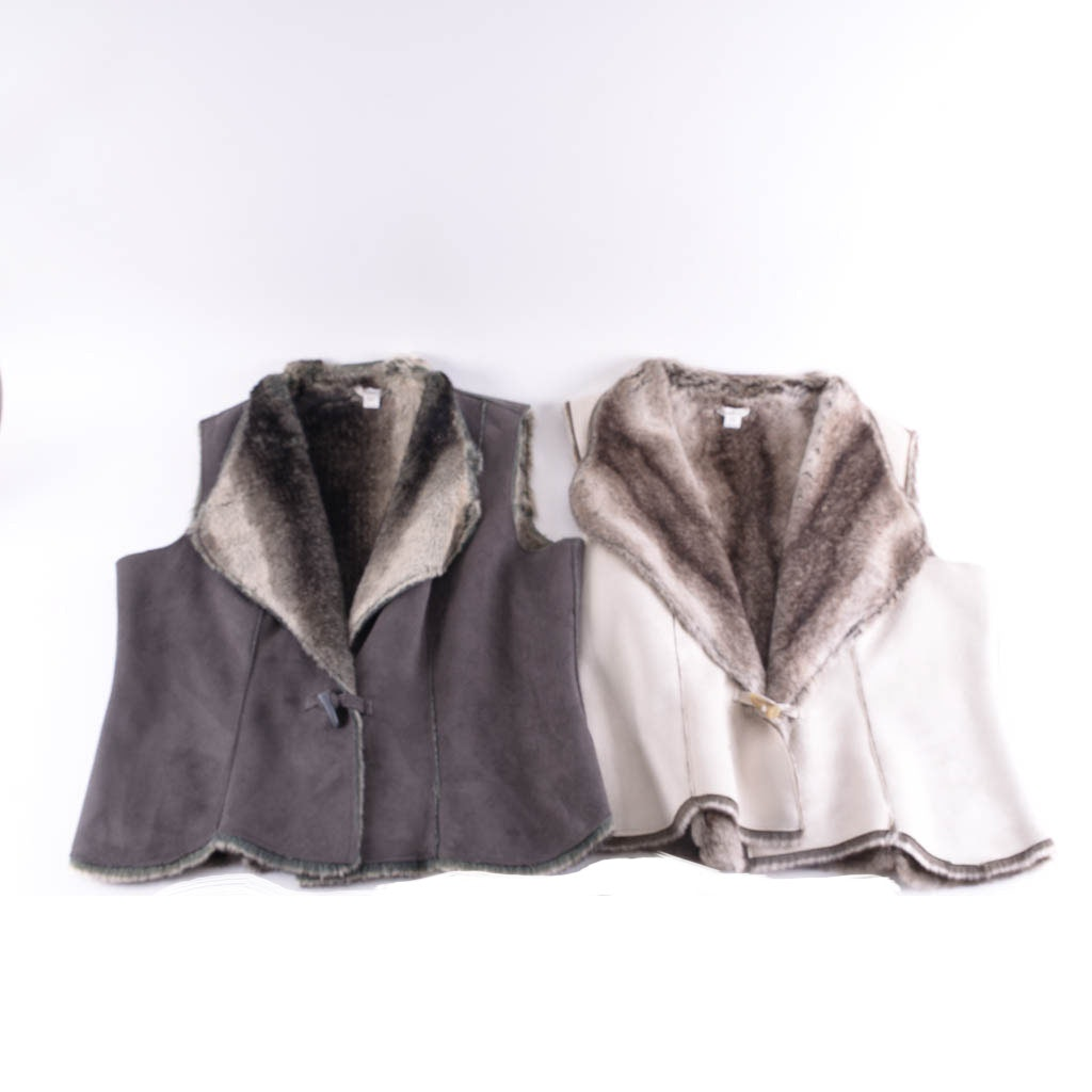 Pair of Coldwater Creek Faux Suede and Fur Vests, Size L