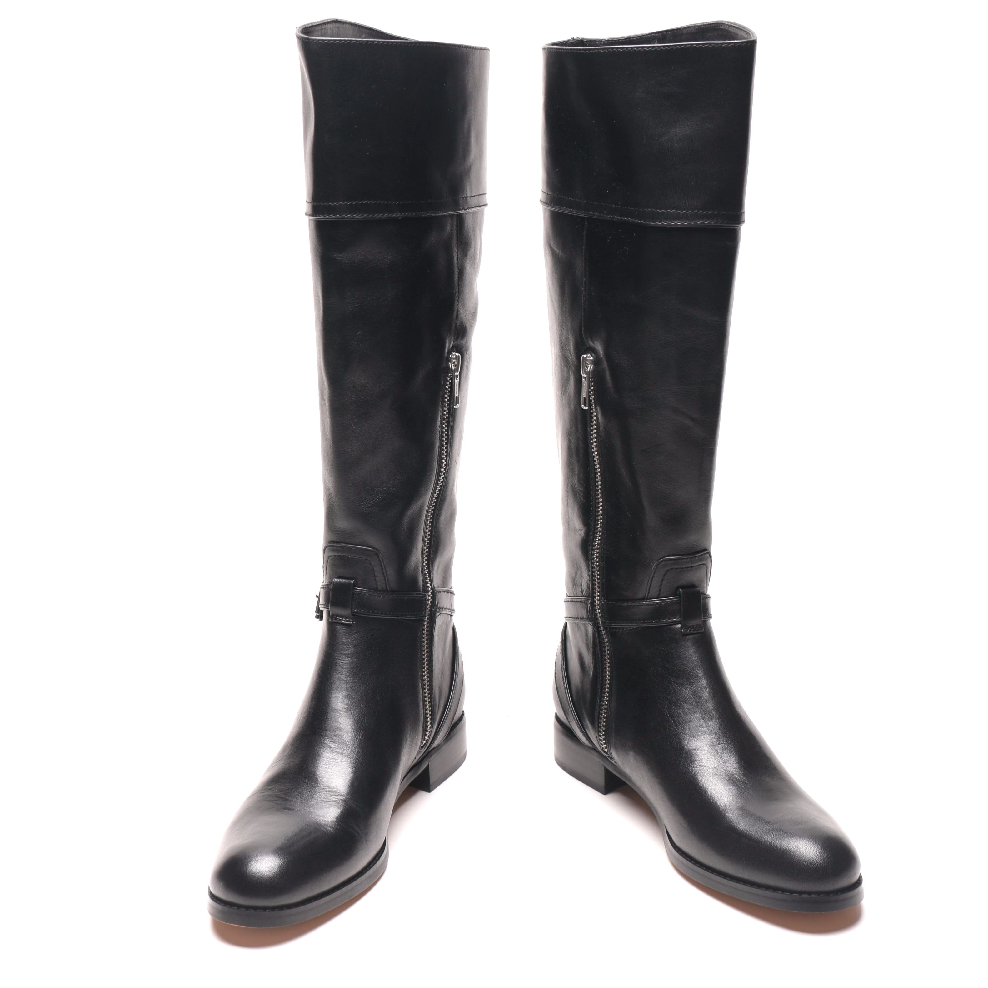"Coach Black Leather ""Micha"" Riding Boots"