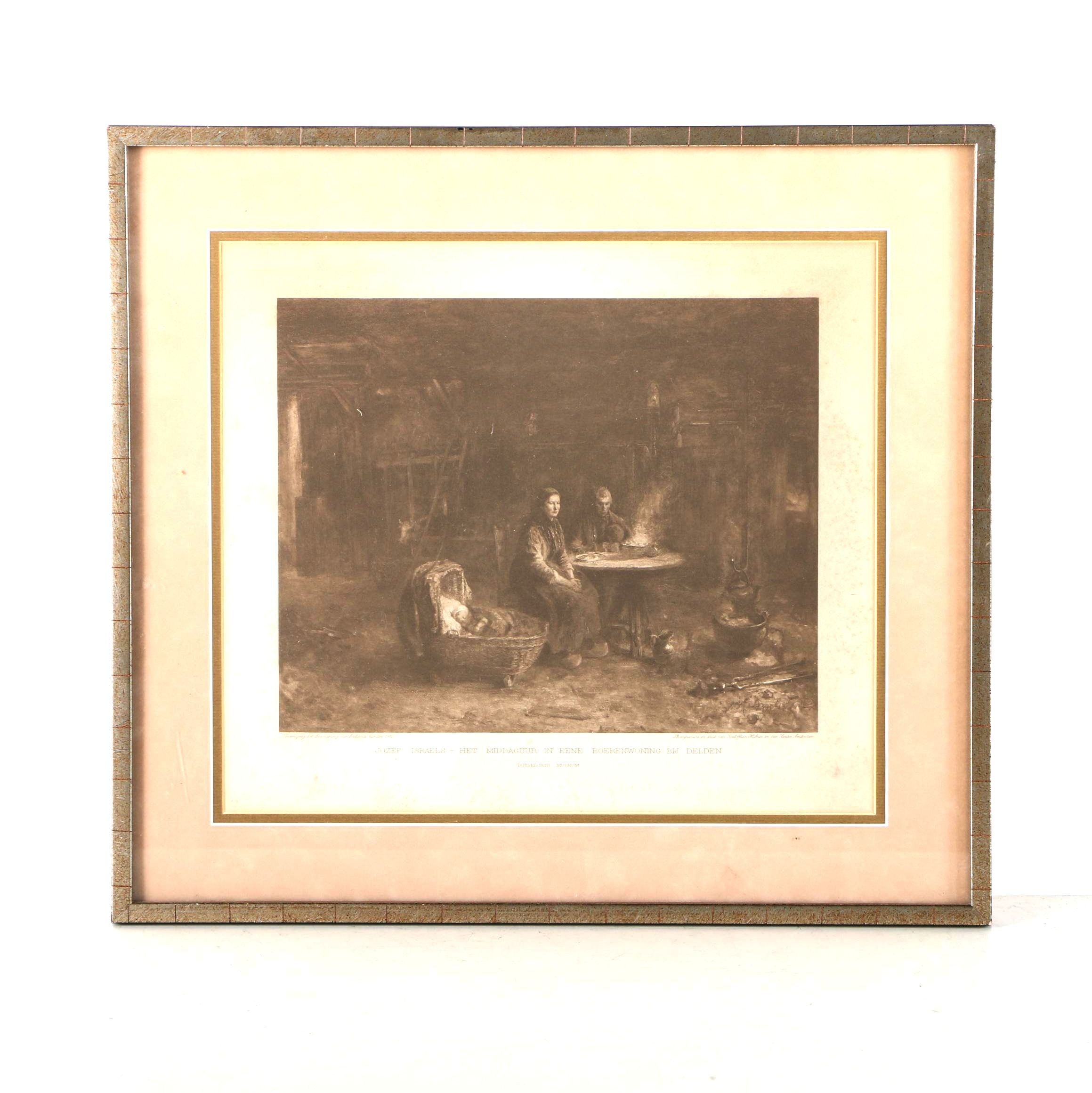 """Photogravure after Jozef Israels' """"Afternoon in a Farmhouse in Delden"""""""