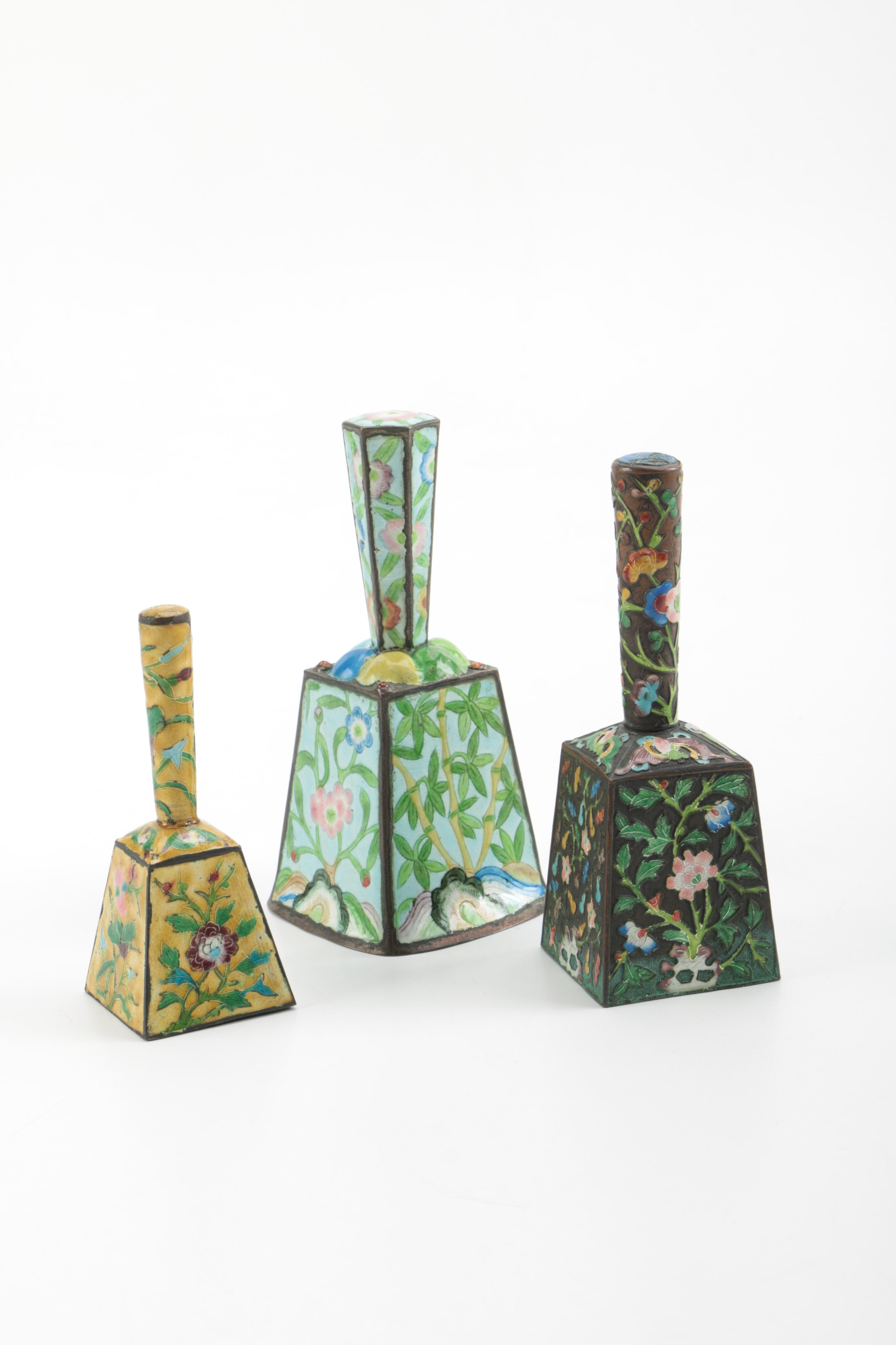 Chinese Square Metal and Enamel Hand Bells