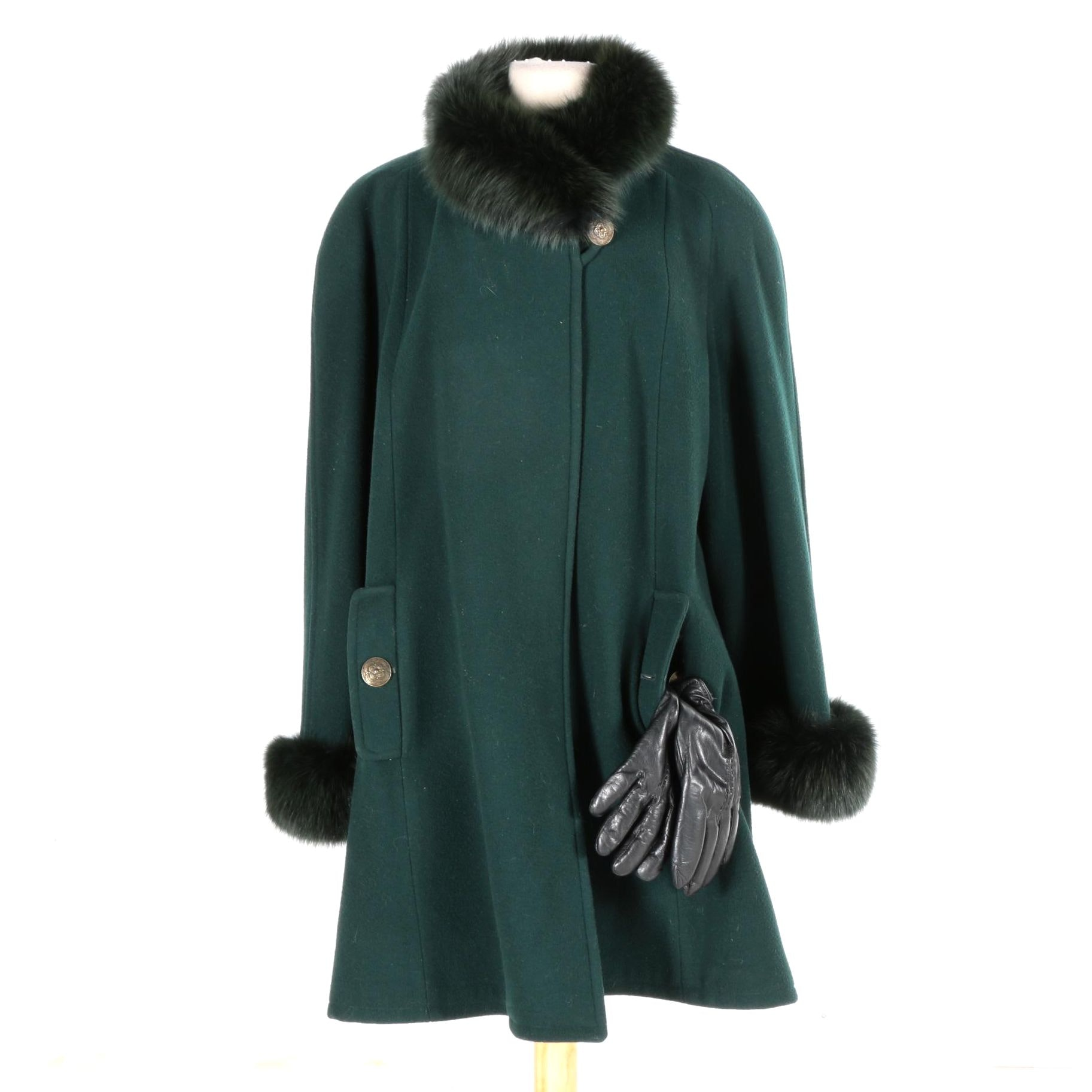 Oscar de la Renta Coat with Fox Fur and Grandoe Fur Lined Gloves