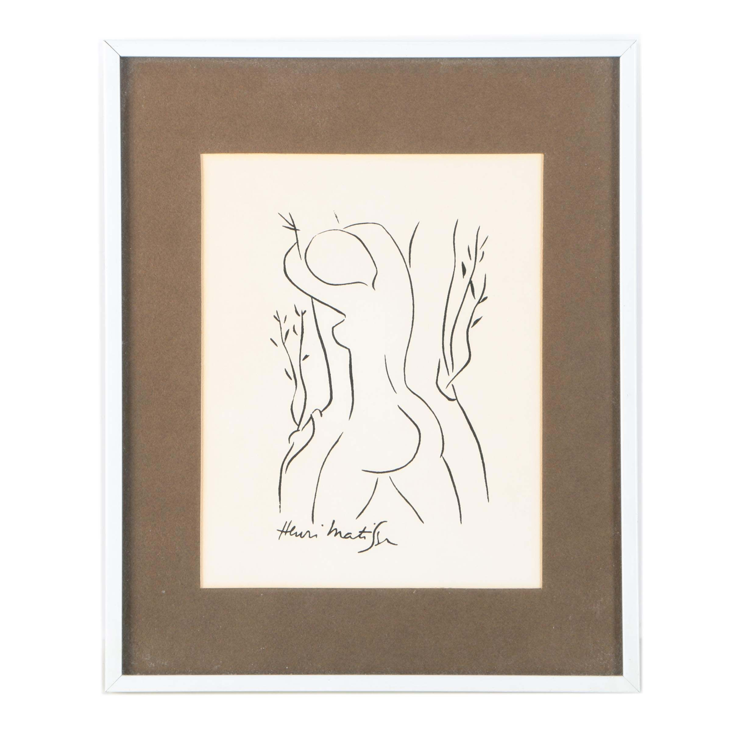 "Serigraph After Henri Matisse's Drawing ""Pasiphae Embracing an Olive Tree"""
