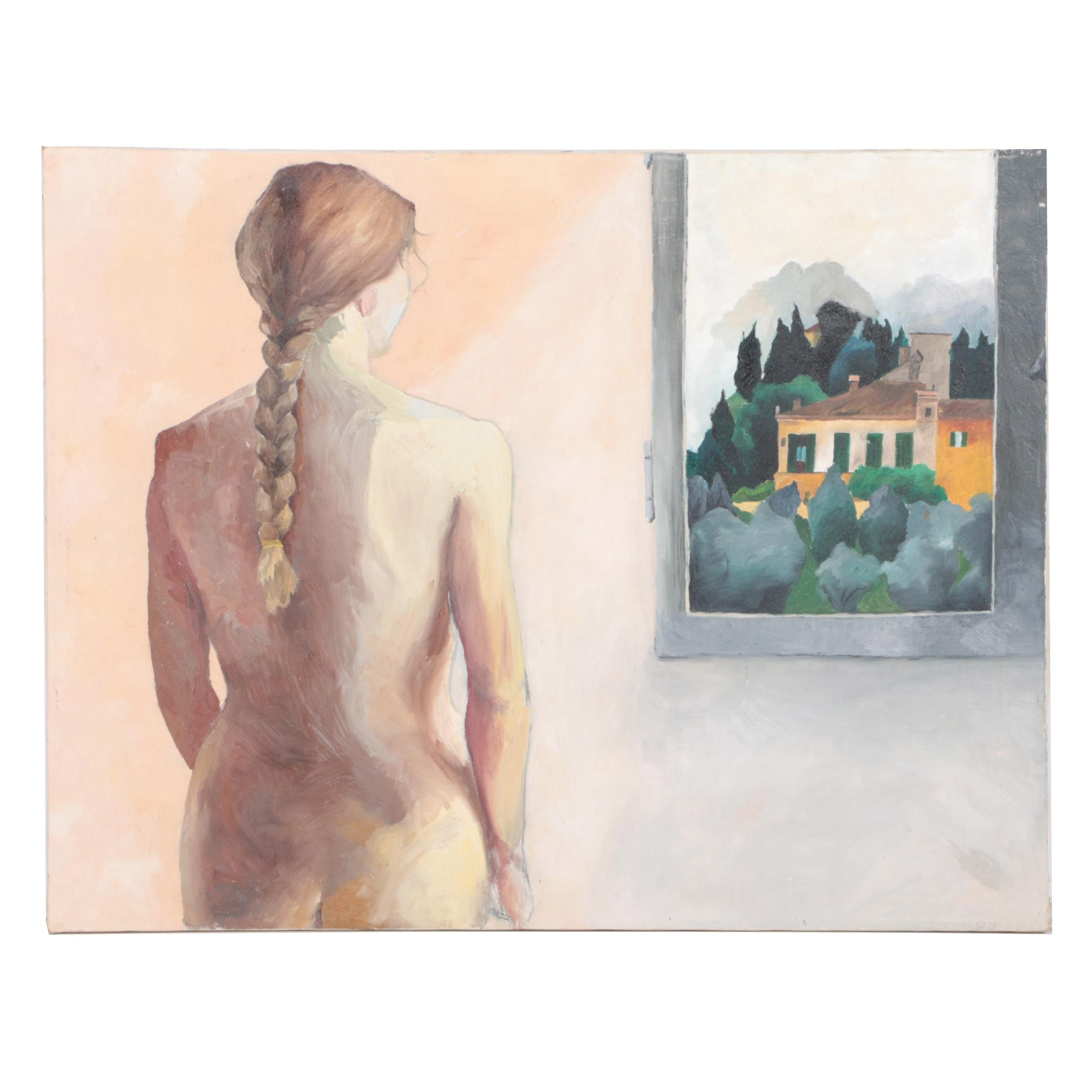 Oil on Canvas of Female Nude Standing by a Window