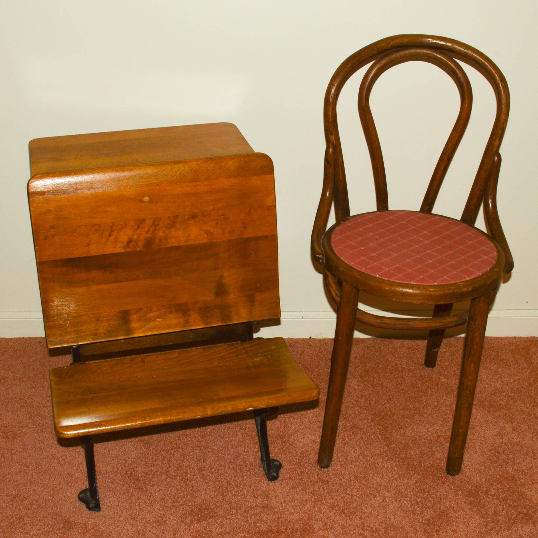 Vintage Student's Desk and Bentwood Chair