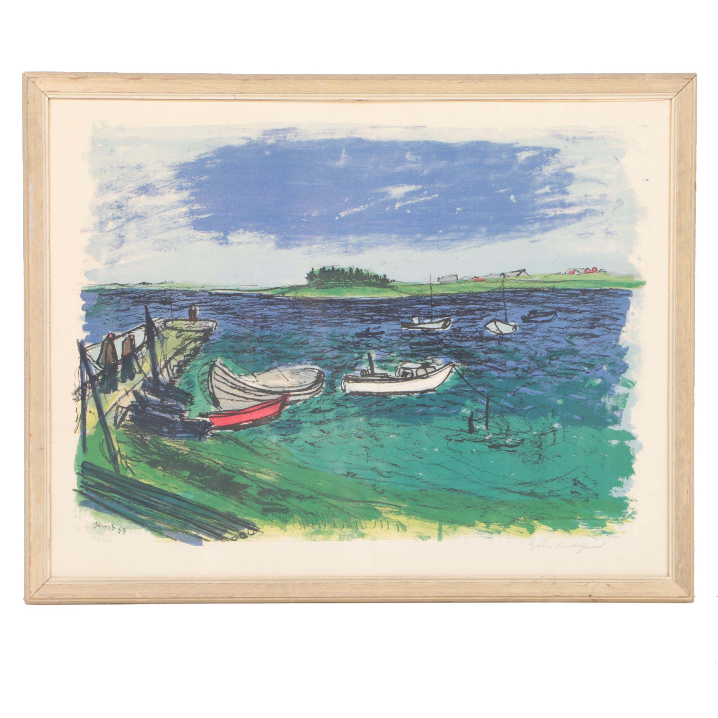 Limited Edition Lithograph by Jens Sondergaard of a Harbor in Denmark