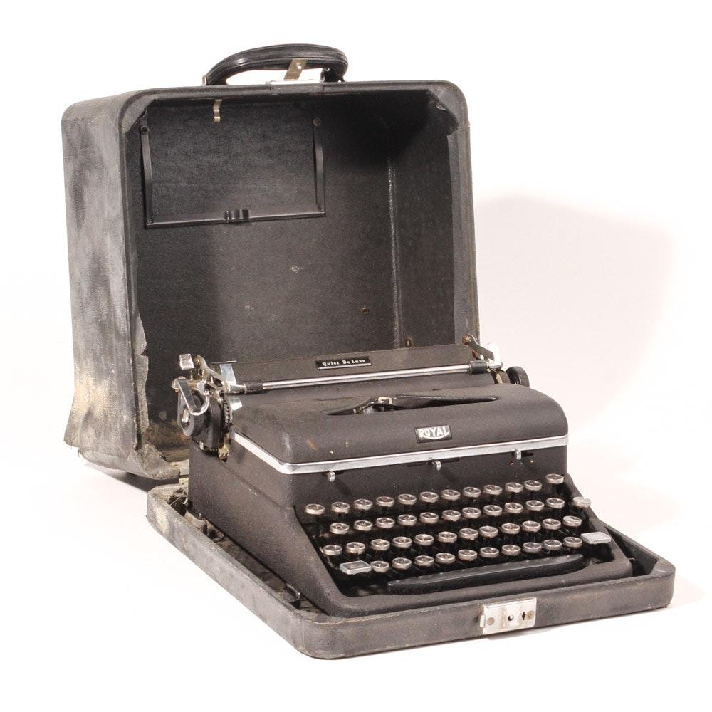 "Vintage Royal ""Quiet De Luxe"" Portable Typewriter"