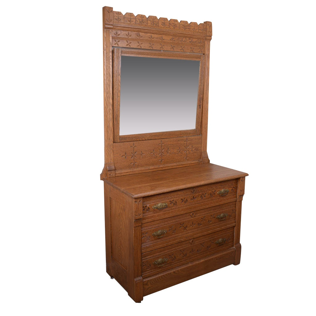 Antique Eastlake Oak Chest of Drawers With Mirror