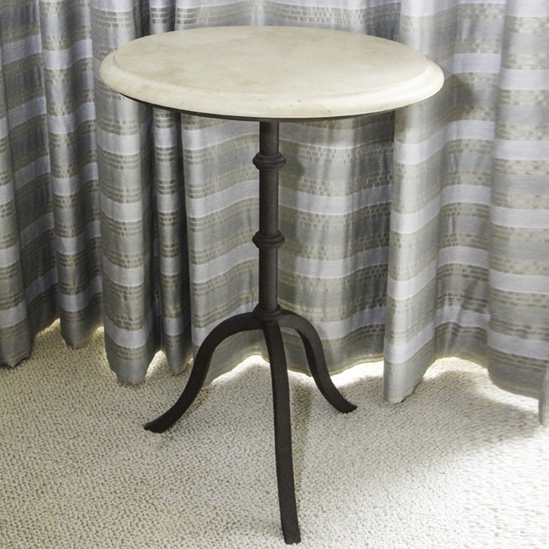 Marble Top Wrought Iron Side Table