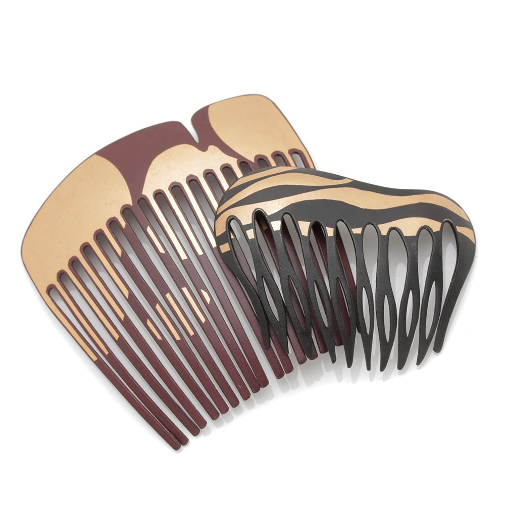 Vintage 1978 Angela Cummings For Tiffany & Co. 22K Yellow Gold Leaf Damascene Iron Hair Combs