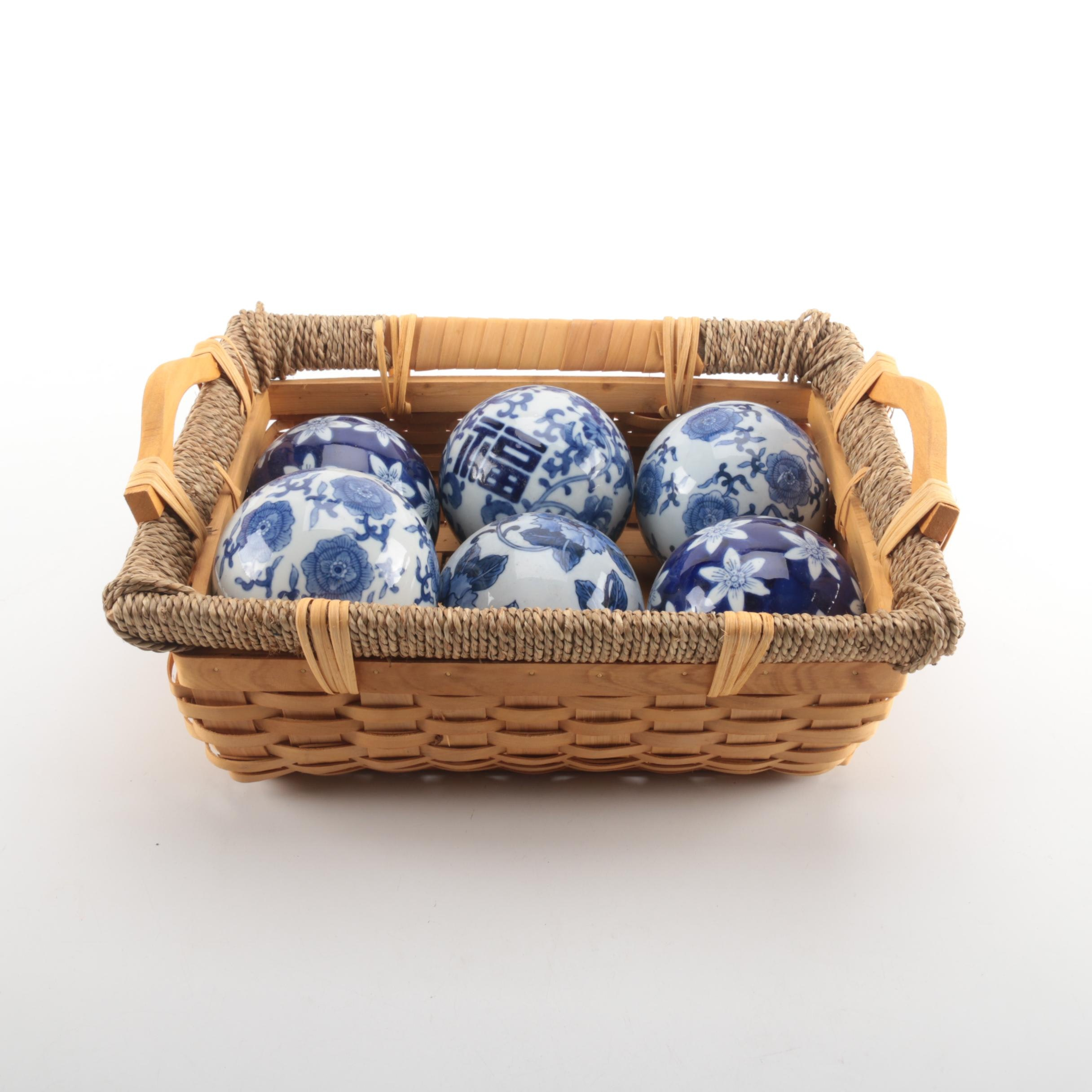 Cobalt Blue and White Decorative Carpet Balls With Woven Basket