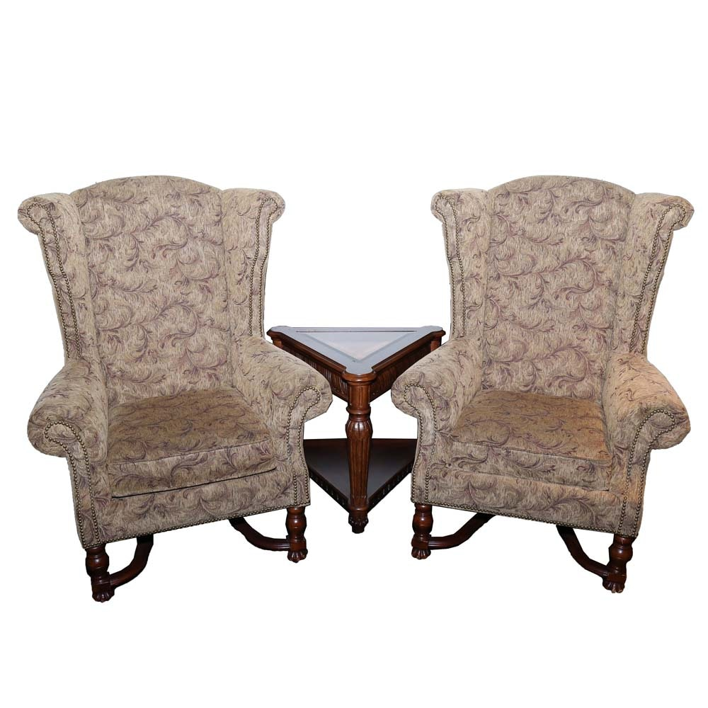 Schnadig Wingback Chairs and Accent Table