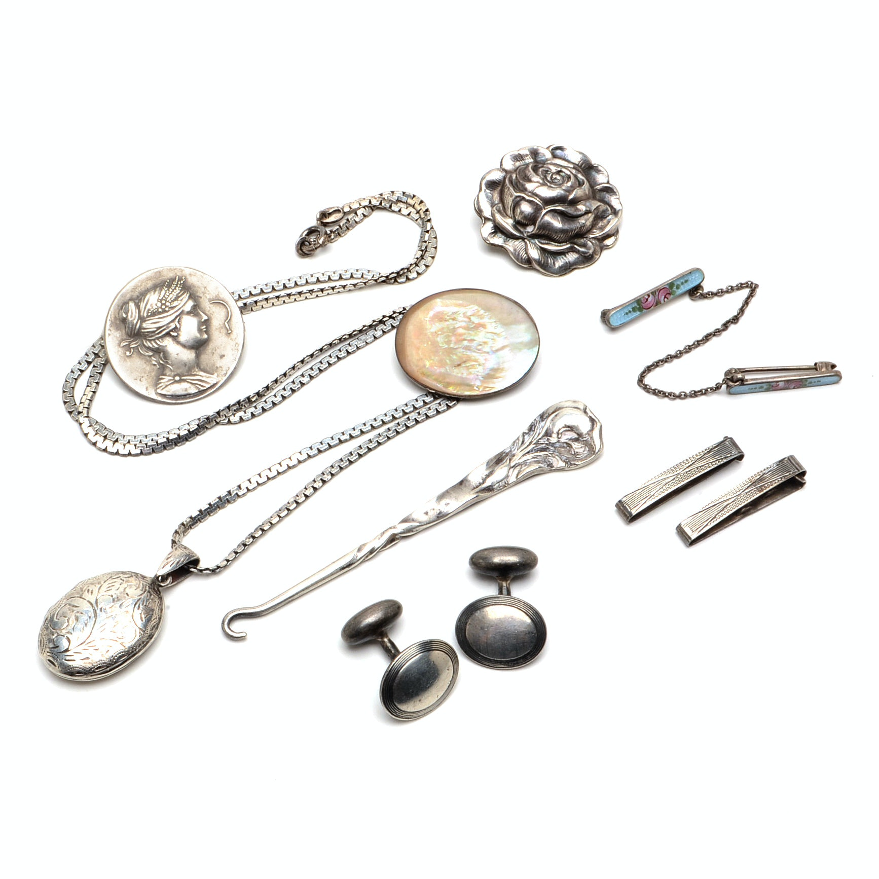Whiting Buttonhook and Other Antique and Vintage Sterling Jewelry