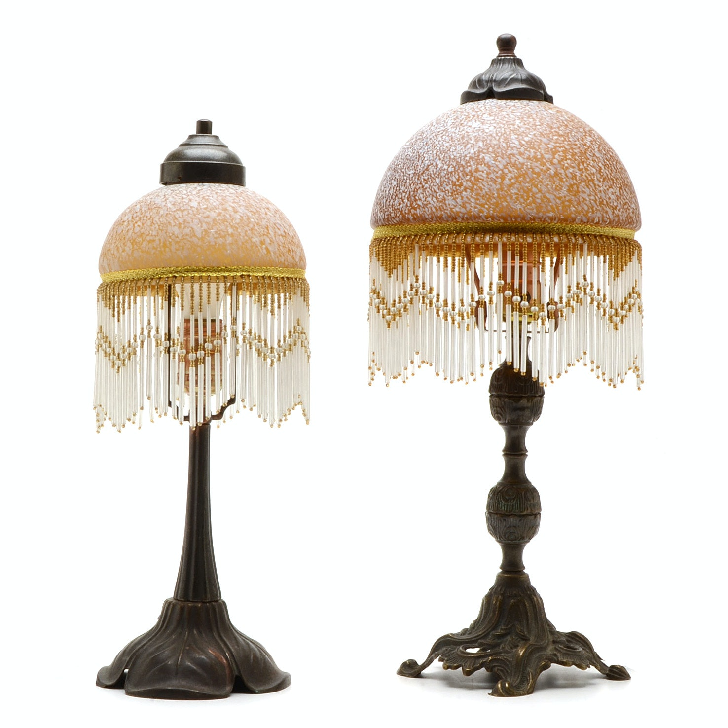 Pair of Table Lamps with Art Glass Shades