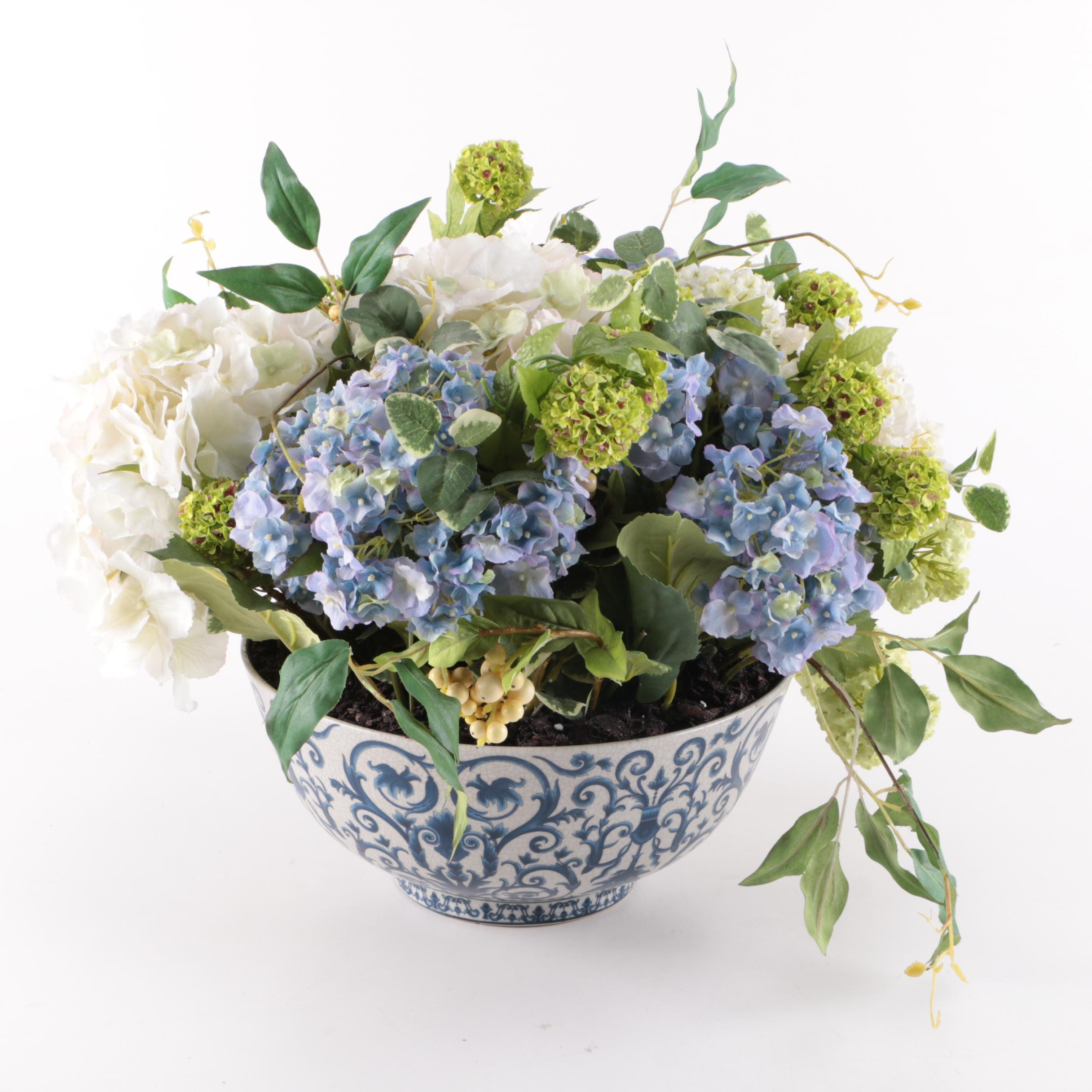 Faux Hydrangeas in Chinese Blue and White Bowl