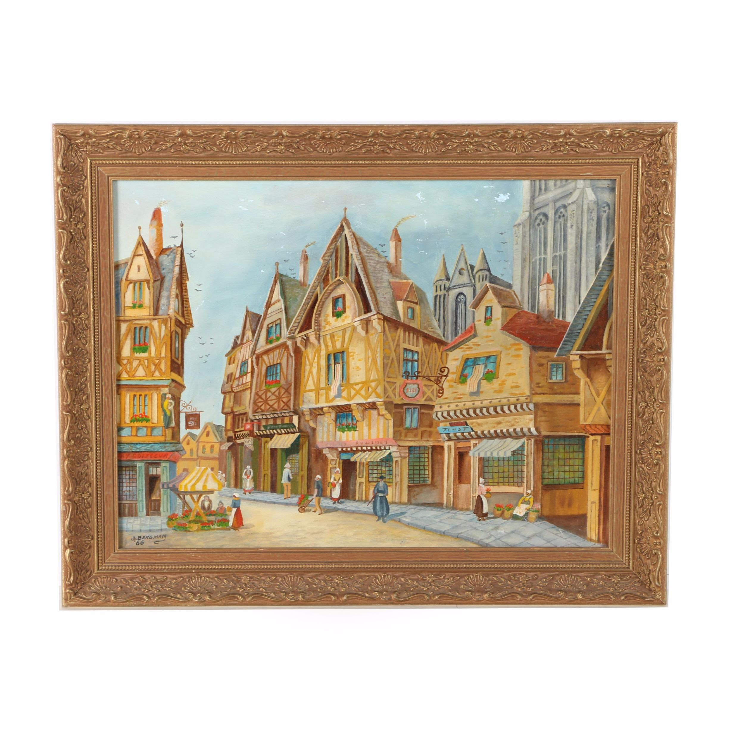 1966 J. Bergman Oil Painting on Canvas of Rothenburg ob der Tauber