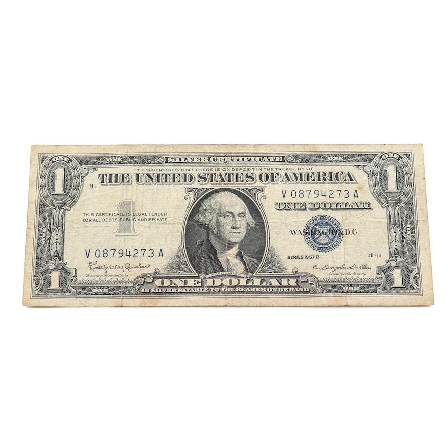 Series 1957-B Blue Seal $1 Silver Certificate : EBTH