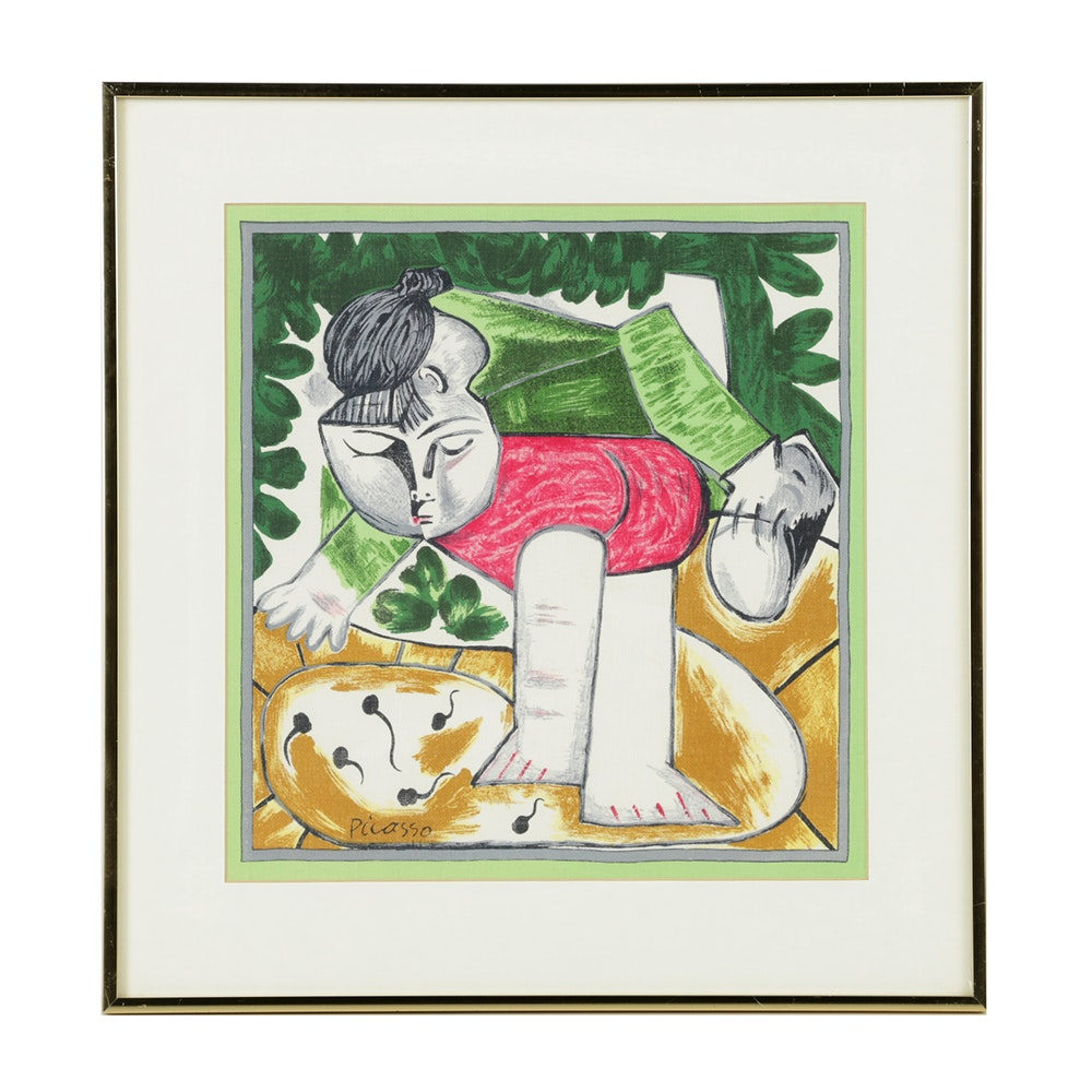 "After Pablo Picasso Serigraph on Fabric Scraf ""Paloma Playing..."""