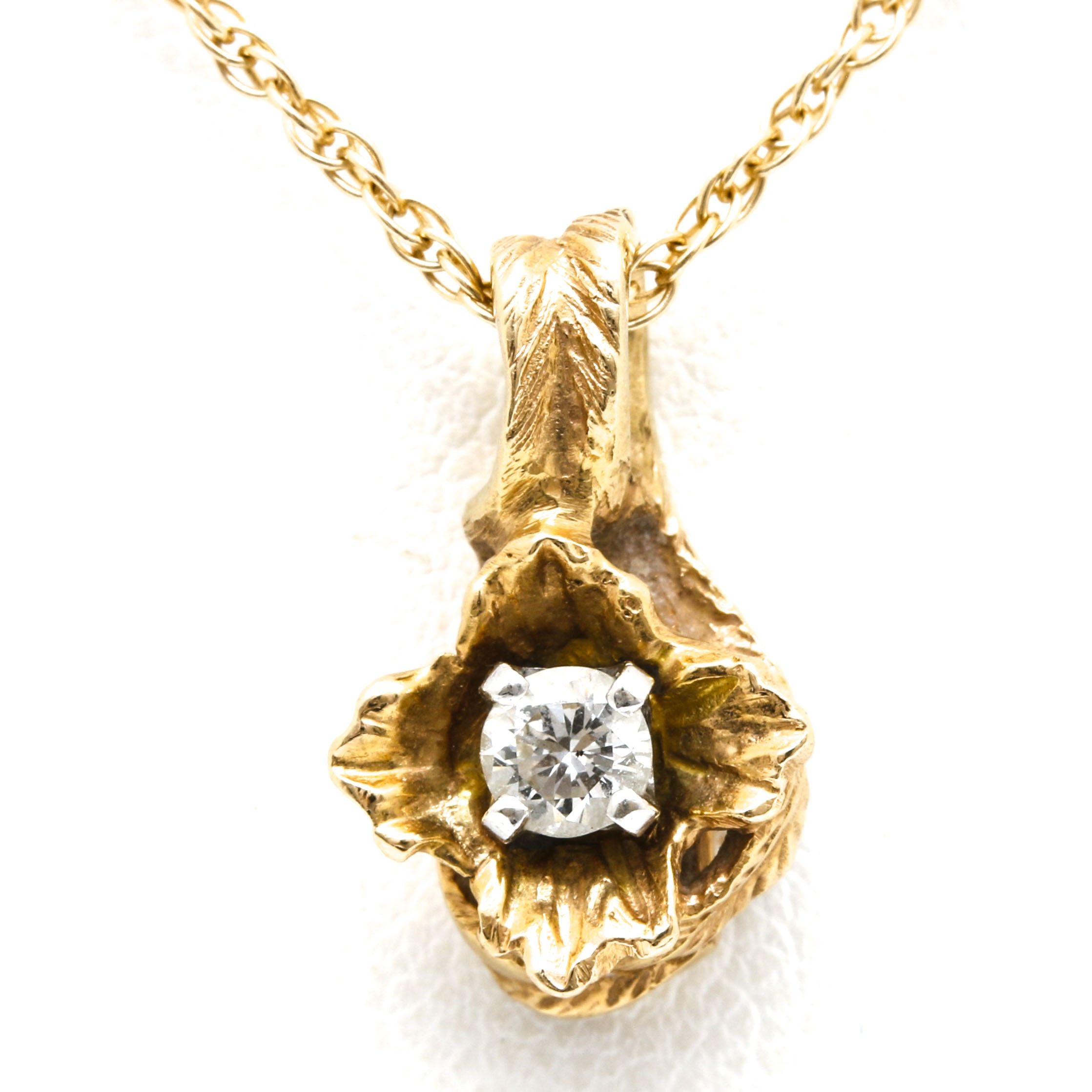 14K Yellow Gold Diamond Slide and Necklace