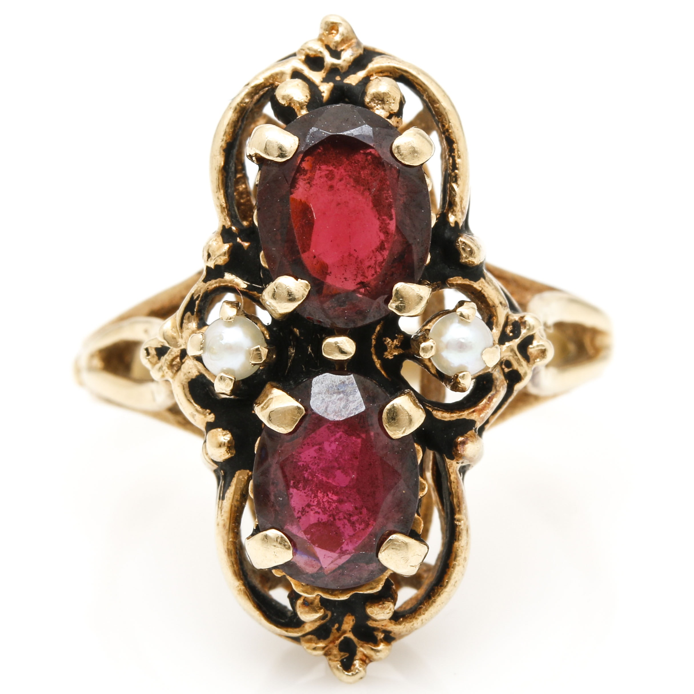 14K Yellow Gold Garnet and Pearl Ring