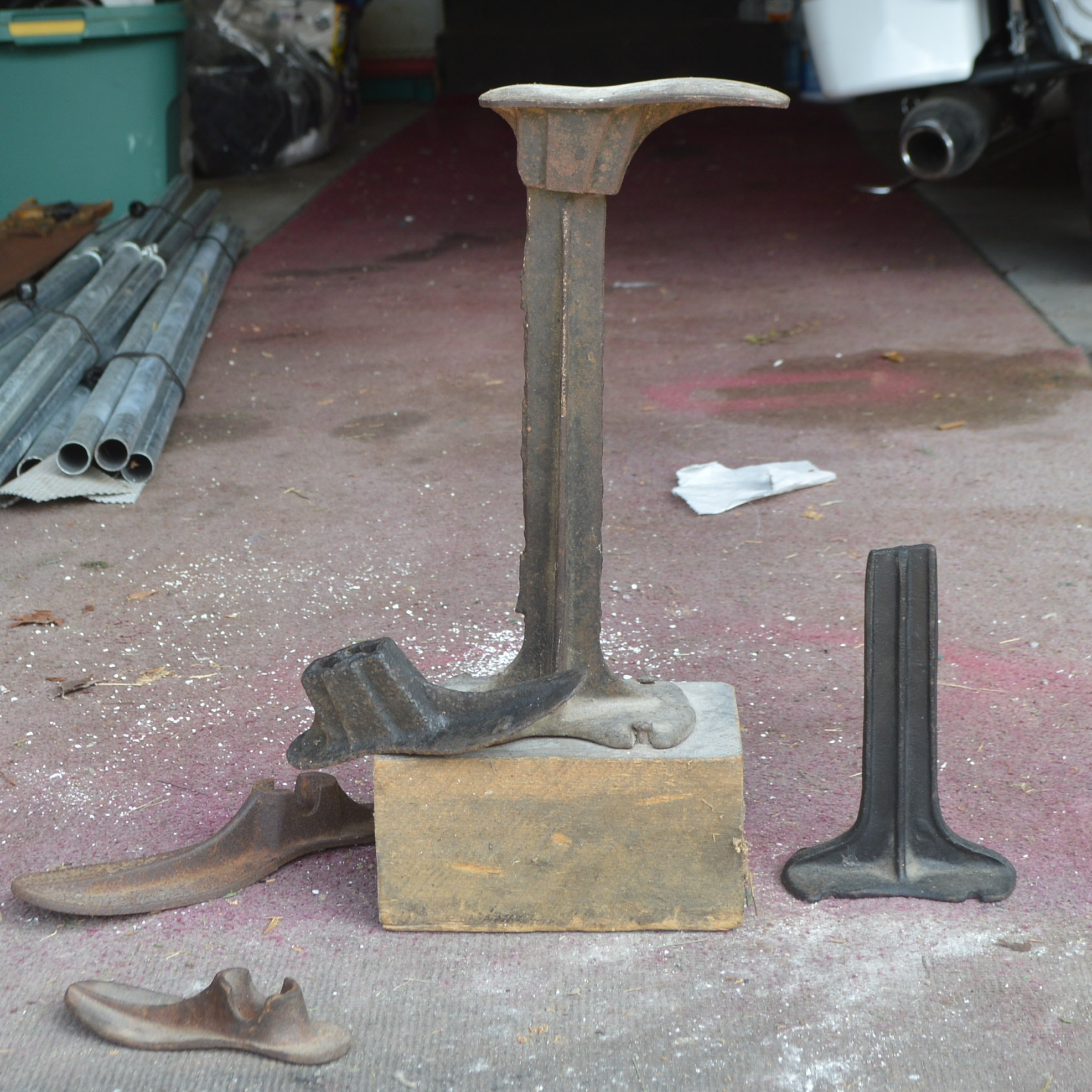 Antique Cast Iron Cobbler's Stand with Shoe Lasts