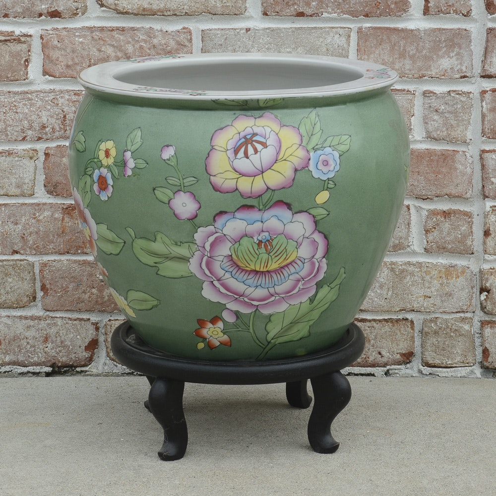 Chinese Fish Bowl Planter with Stand