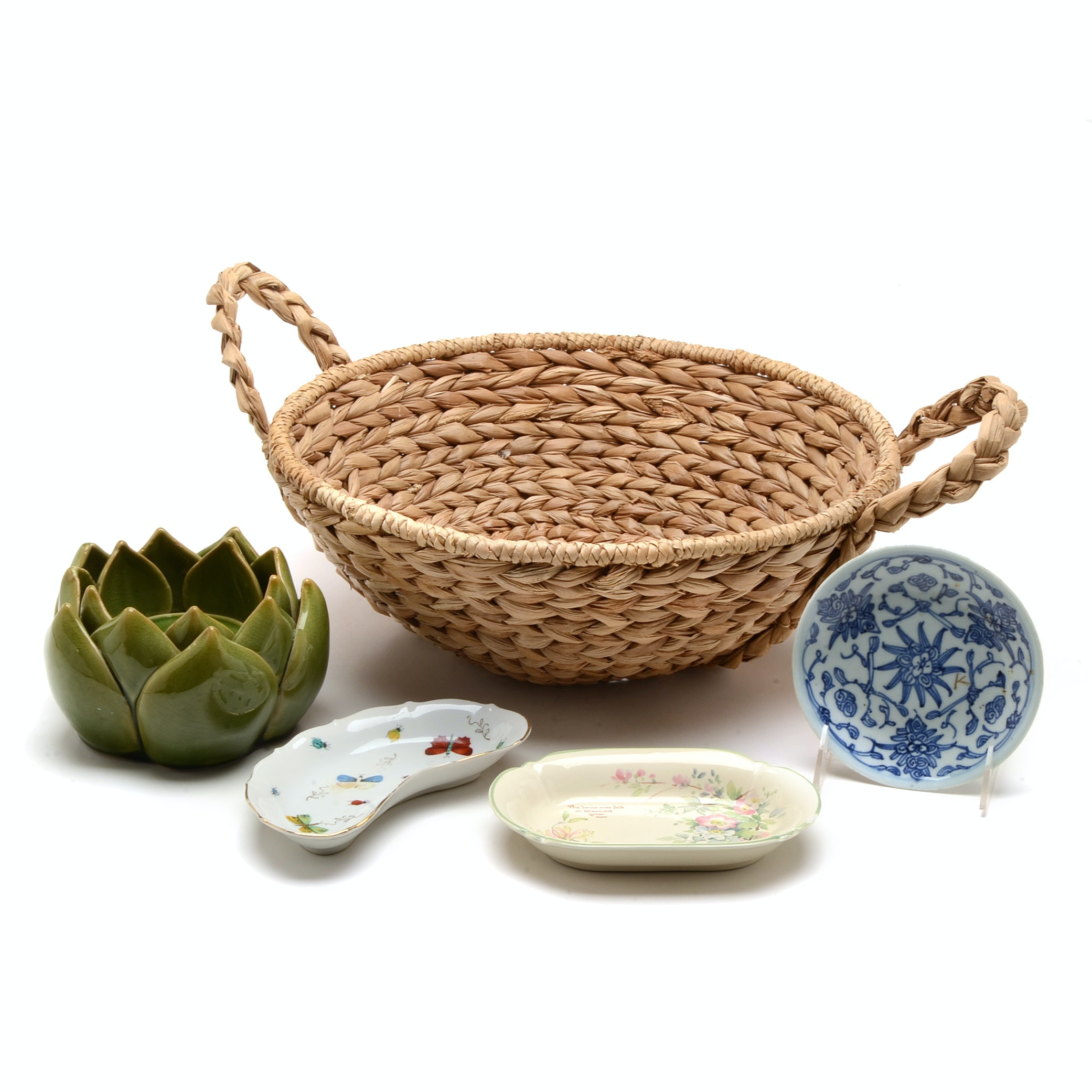 Collection of Ceramics and Basket